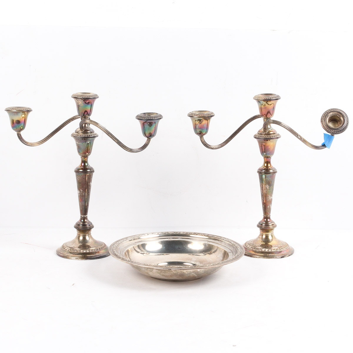 """Sterling Silver Reticulated Bowl and Gorham """"Cambridge"""" Candelabra"""