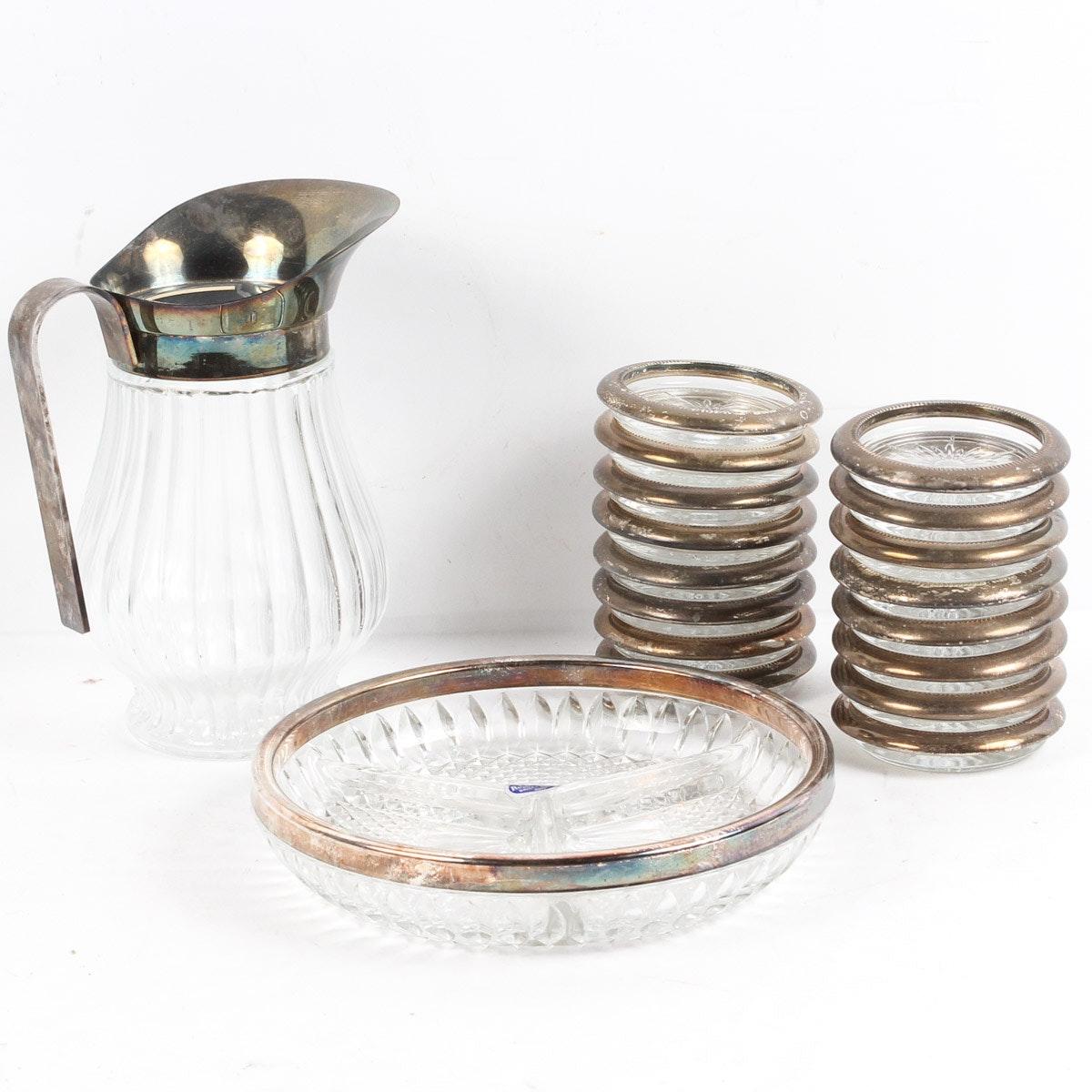 Silver Plate Trimmed Glassware