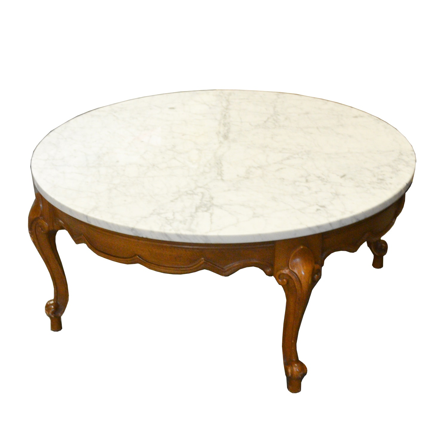 Louis XV Style Circular Coffee Table with Marble Top