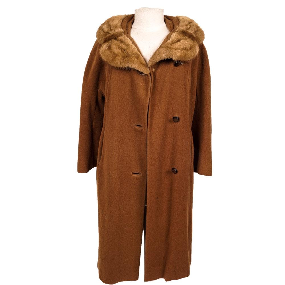 Brown Wool and Mink-Trimmed Fur Coat