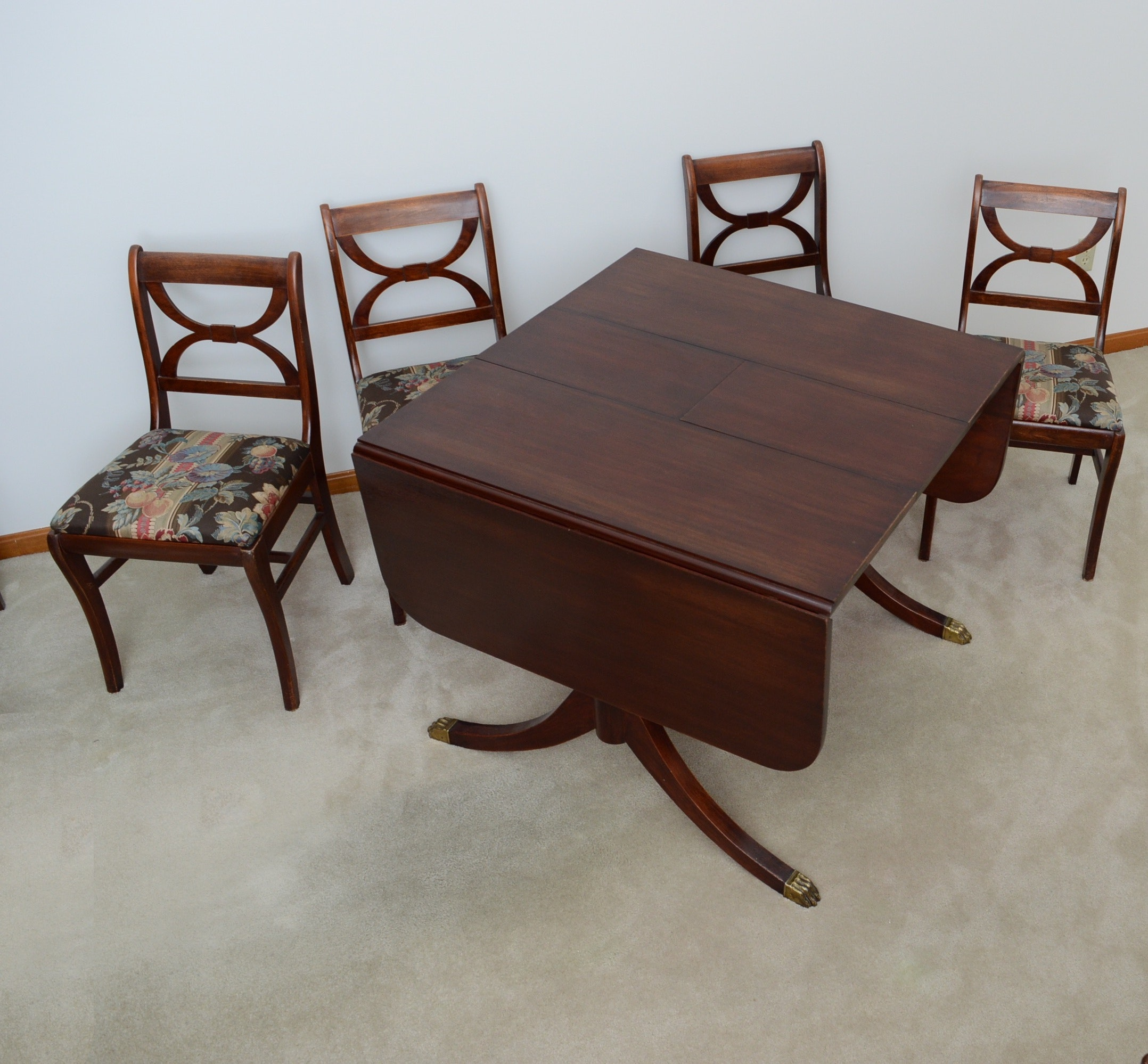 Walnut Duncan Phyfe Style Drop Leaf Table and Four Chairs