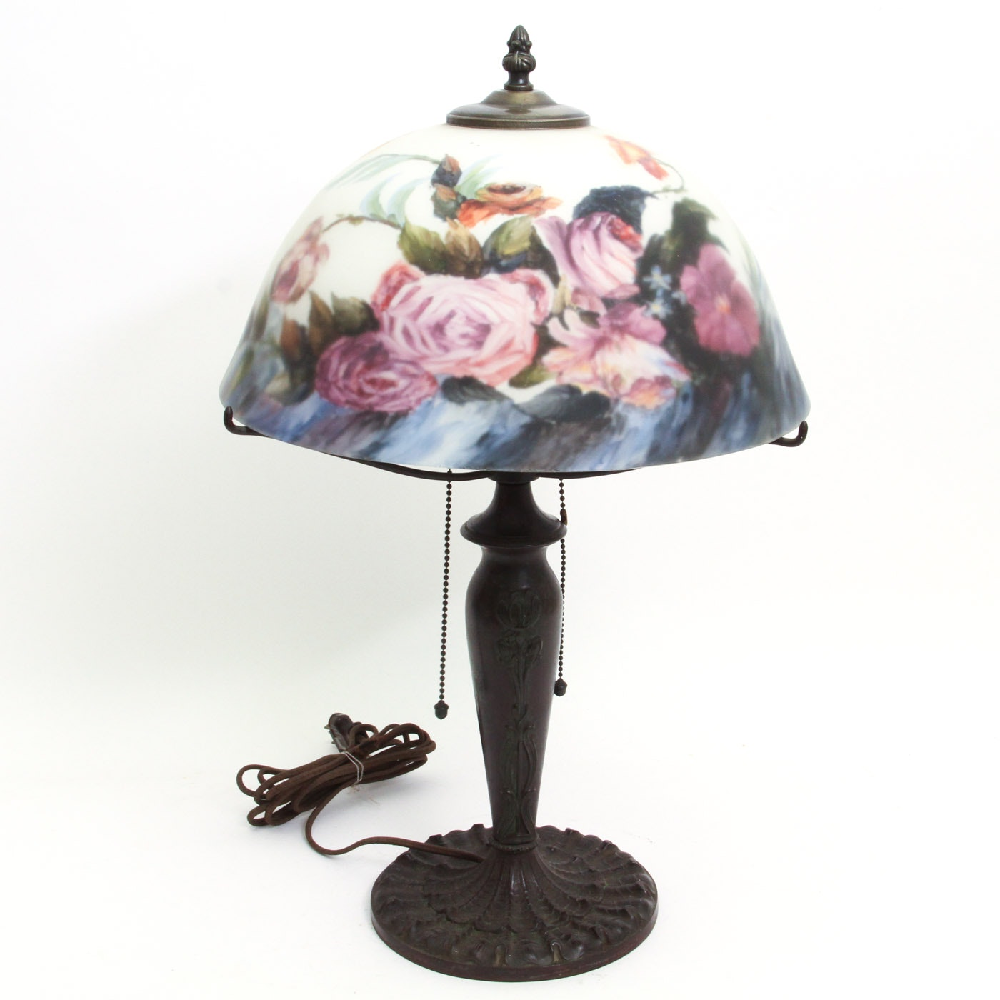 Art Nouveau Bronze Lamp Base with Glass Shade
