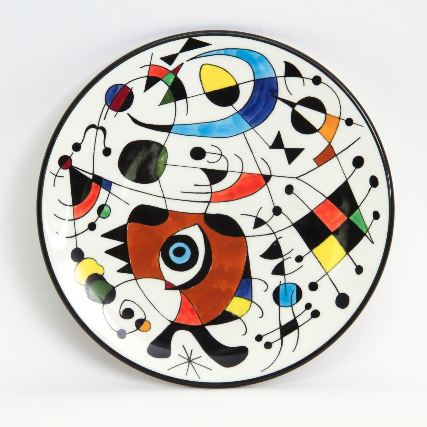 After Joan Miró Hand-Painted Ceramic Plate