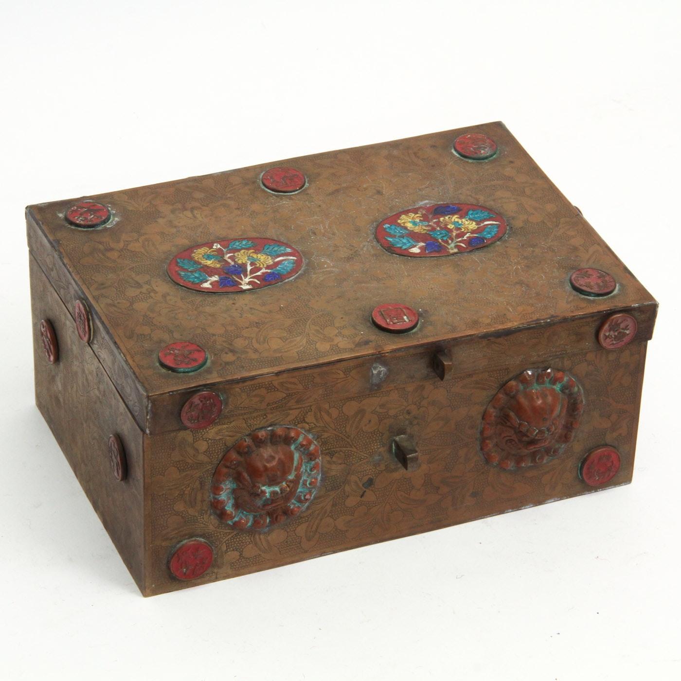 Vintage Asian Inspired Brass Trinket Box