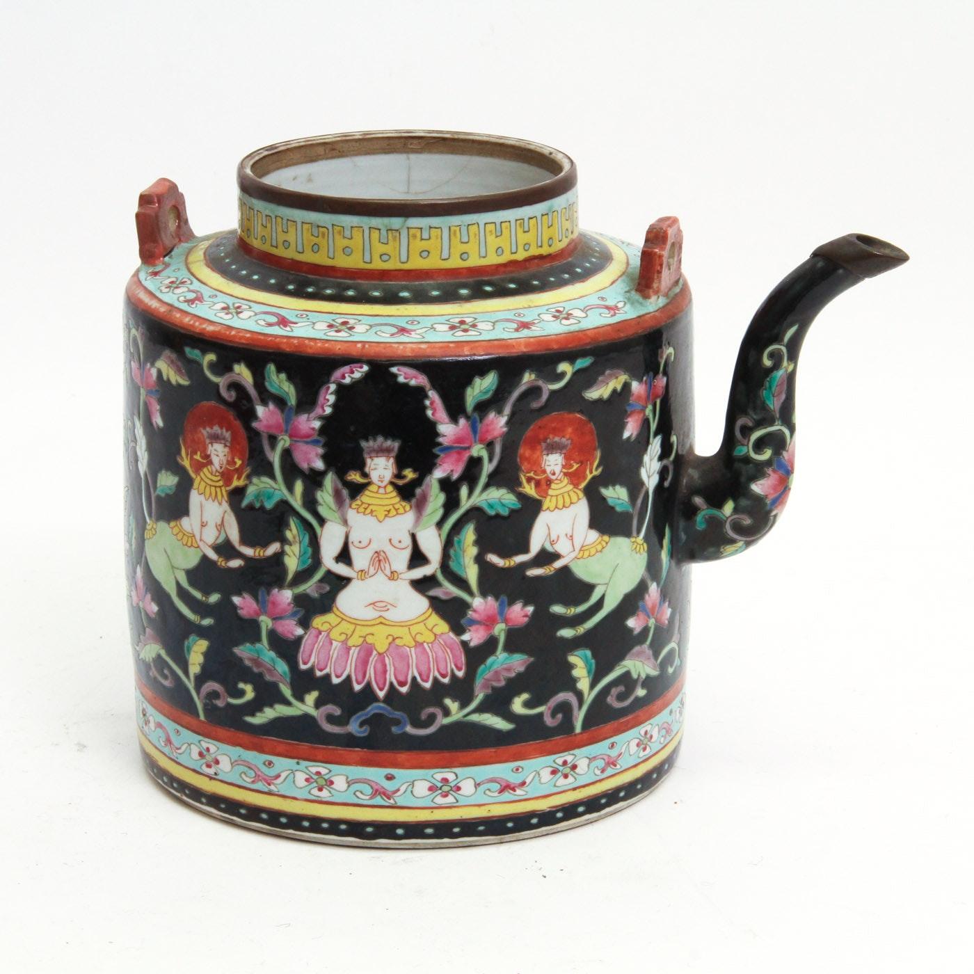 Antique Famille Noire Style Chinese Porcelain Teapot