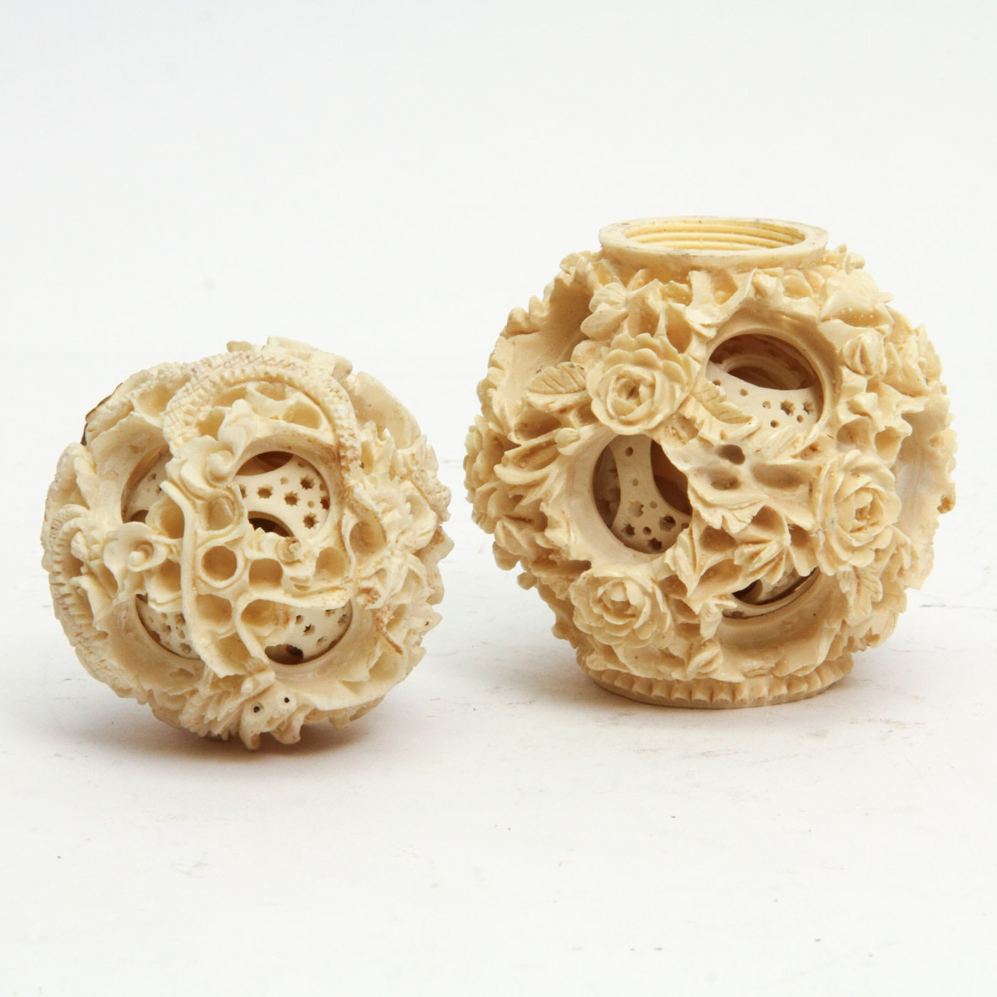Collection of Two Resin Chinese Puzzle Balls
