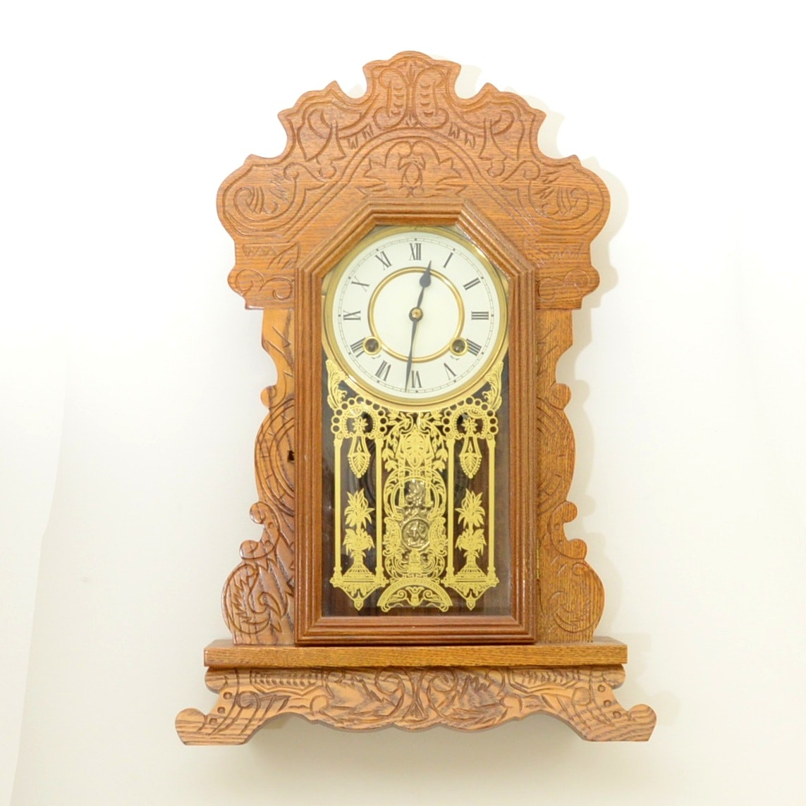 Eastlake Style Oak Mantel Clock