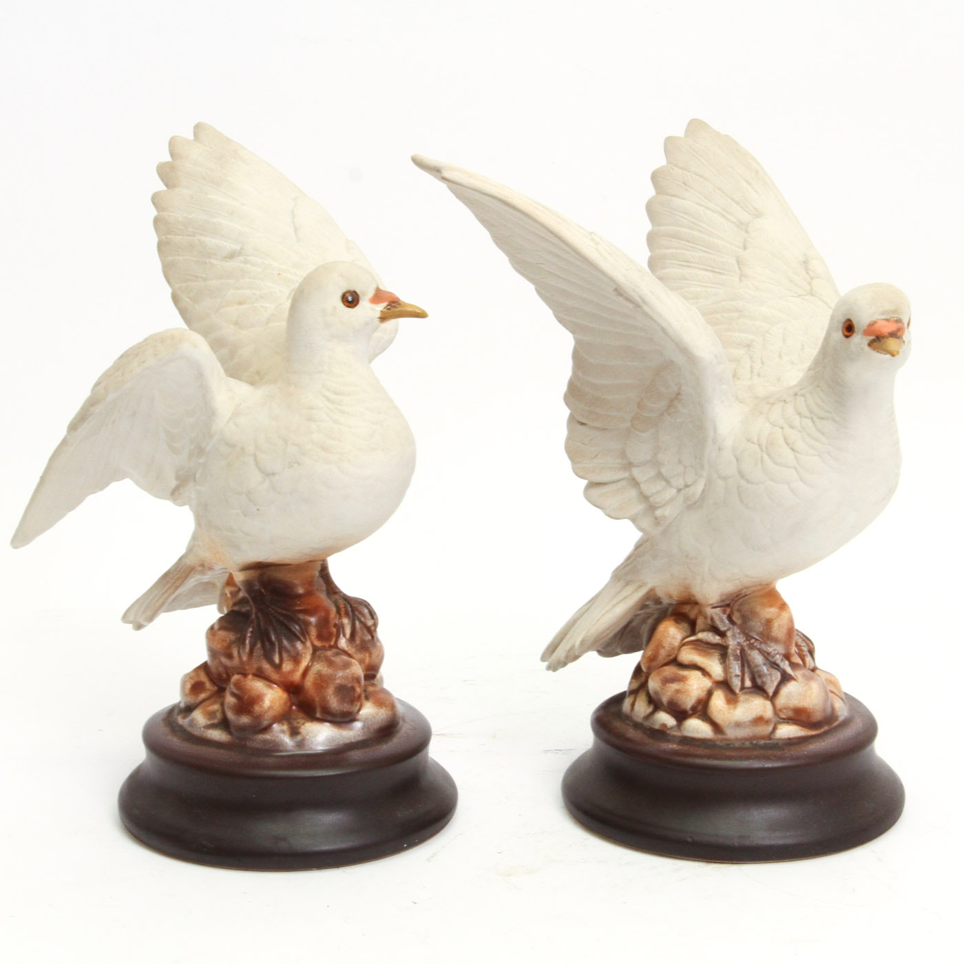 Pair of Vintage Roselane Pottery Dove Figurines