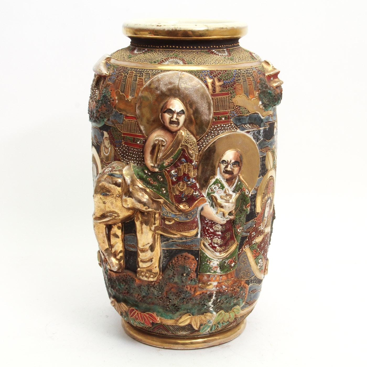 Japanese Late Meiji Period Satsuma Style Vase