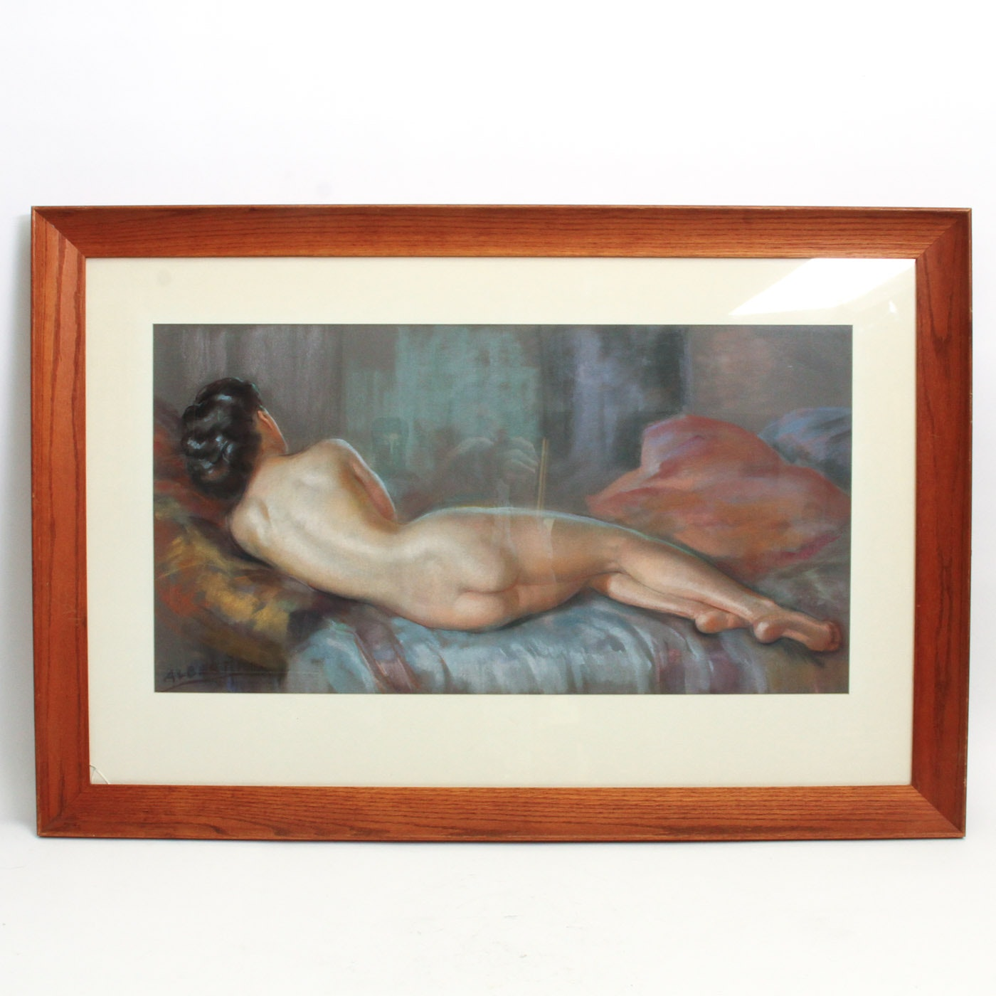 Albert Framed Pastel Drawing of a Nude Woman