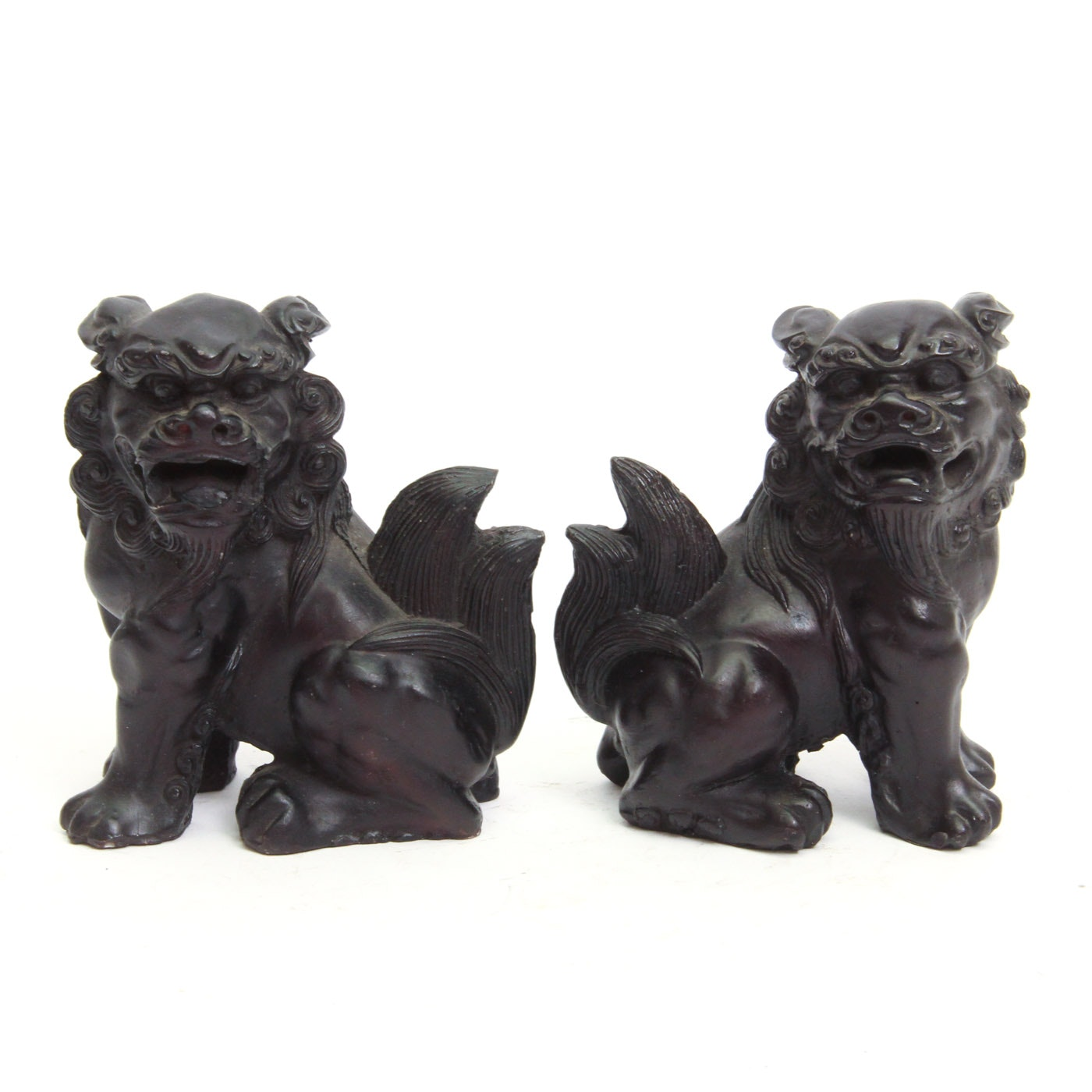 Pair of Carved Resin Chinese Guardian Lion Bookends