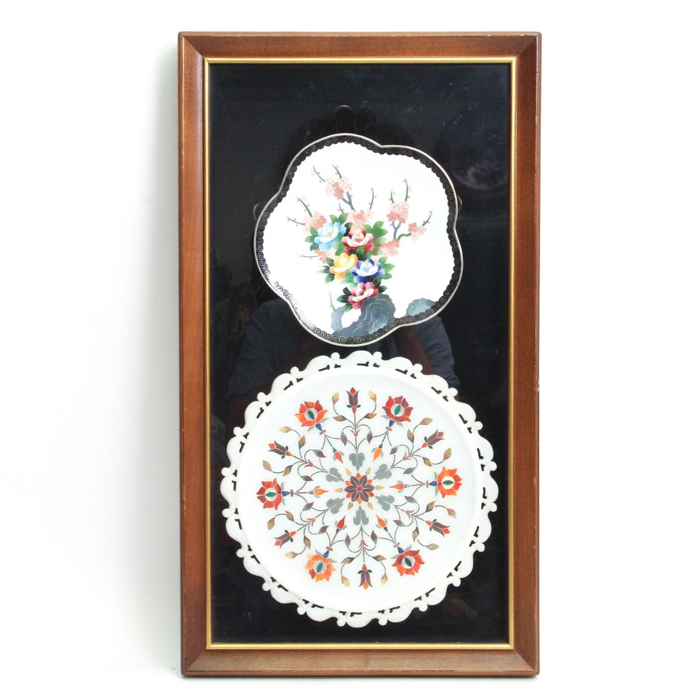 Pair of Framed Inlaid Porcelain Trinket Dishes