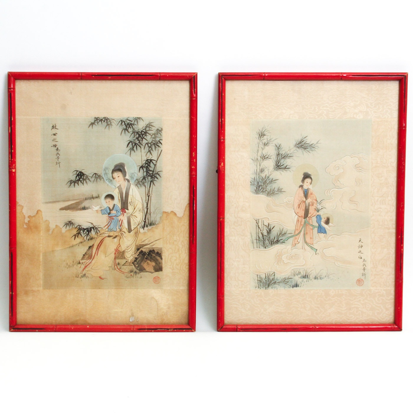 Pair of Chinese Madonna and Child Watercolor Paintings on Silk