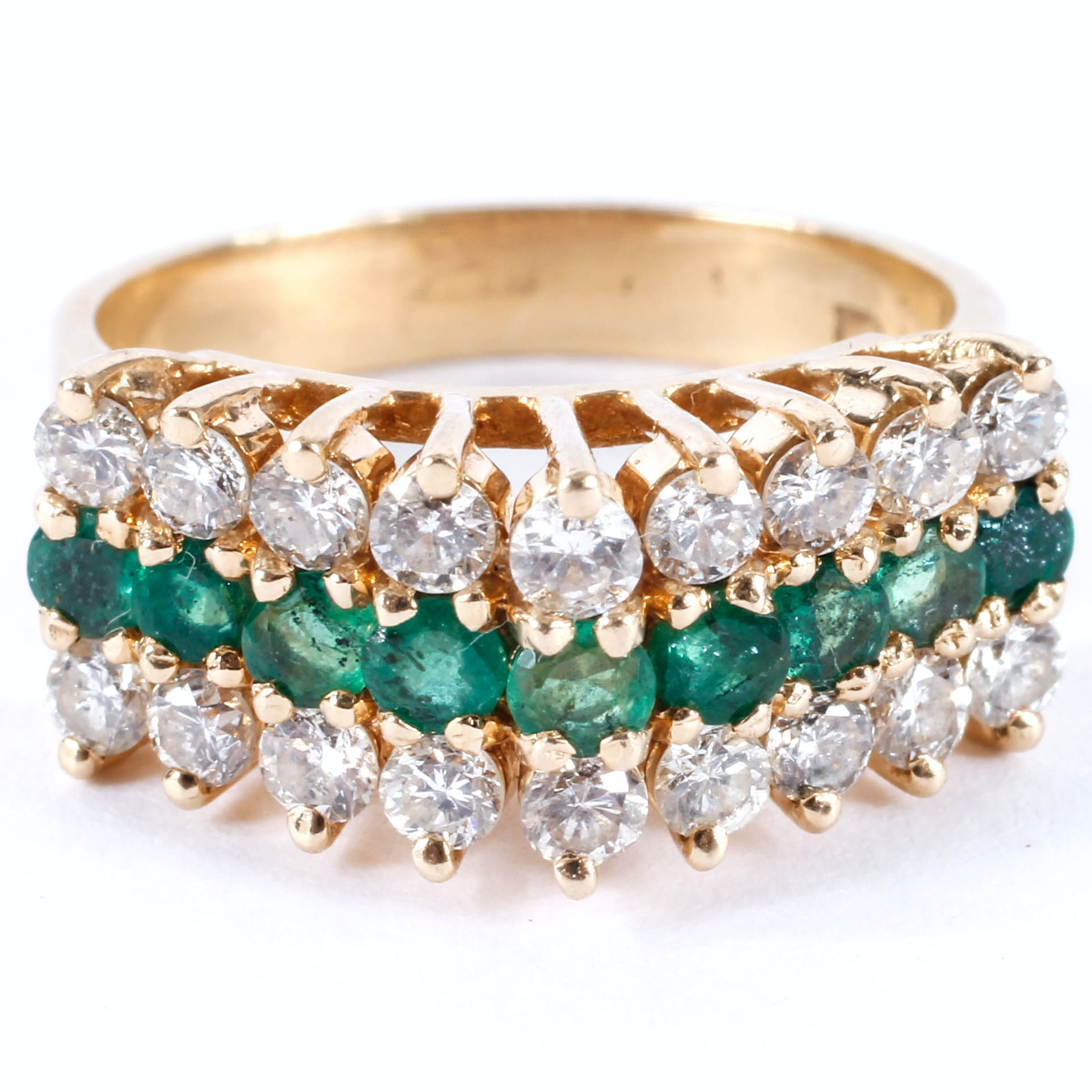 14K Diamond and Emerald Ring