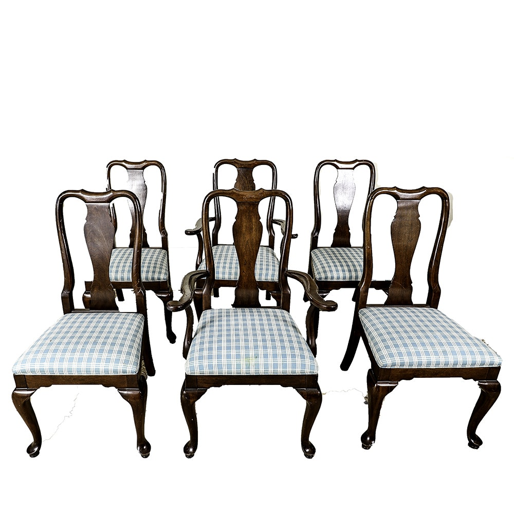 Set of Six Queen Anne Style Dining Chairs by Ethan Allen