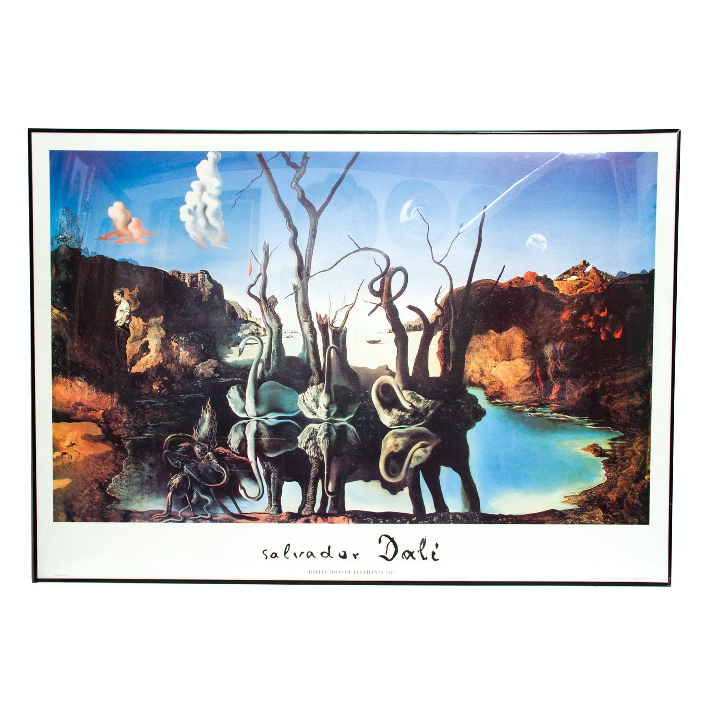 "Offset Lithograph Poster After ""Swans Reflecting Elephants"" by Salvador Dali"