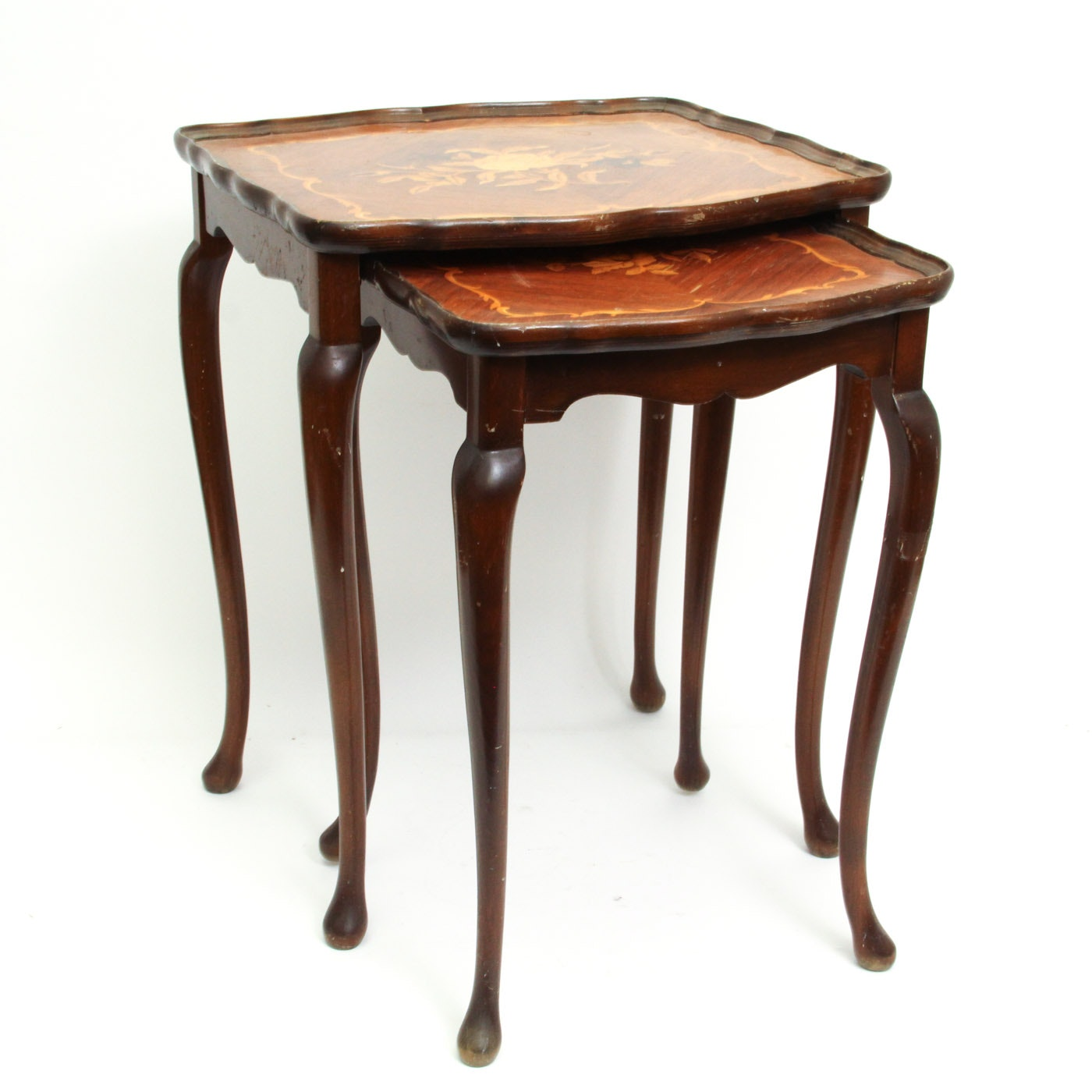 Queen Anne Style Nesting Tables with Marquetry Tops