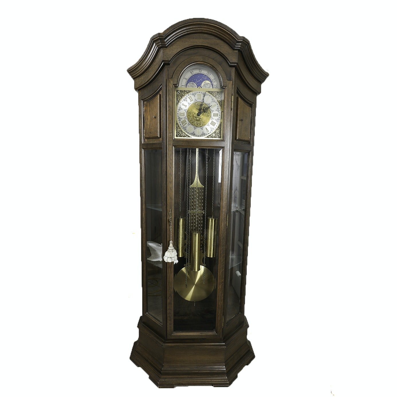 Western German Longcase Great Grandfather Clock with Six Glass Display Shelves