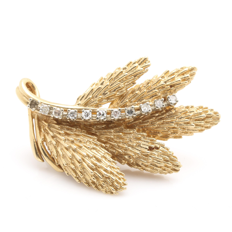 14K Yellow Gold Diamond Leaf Brooch