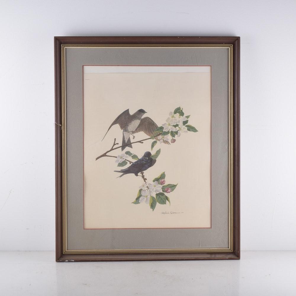 Offset Lithograph After Richard Sloan Artwork of Purple Martins