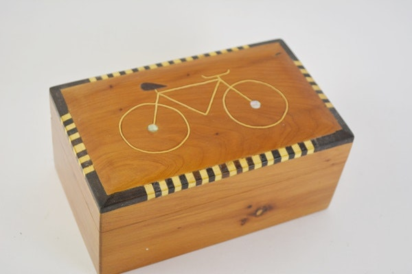 Pine Box With Bicycle Design