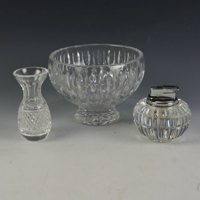 Waterford Crystal Bowl, Vase and Lighter