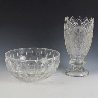 Vintage Crystal Vase and Crystal Bowl