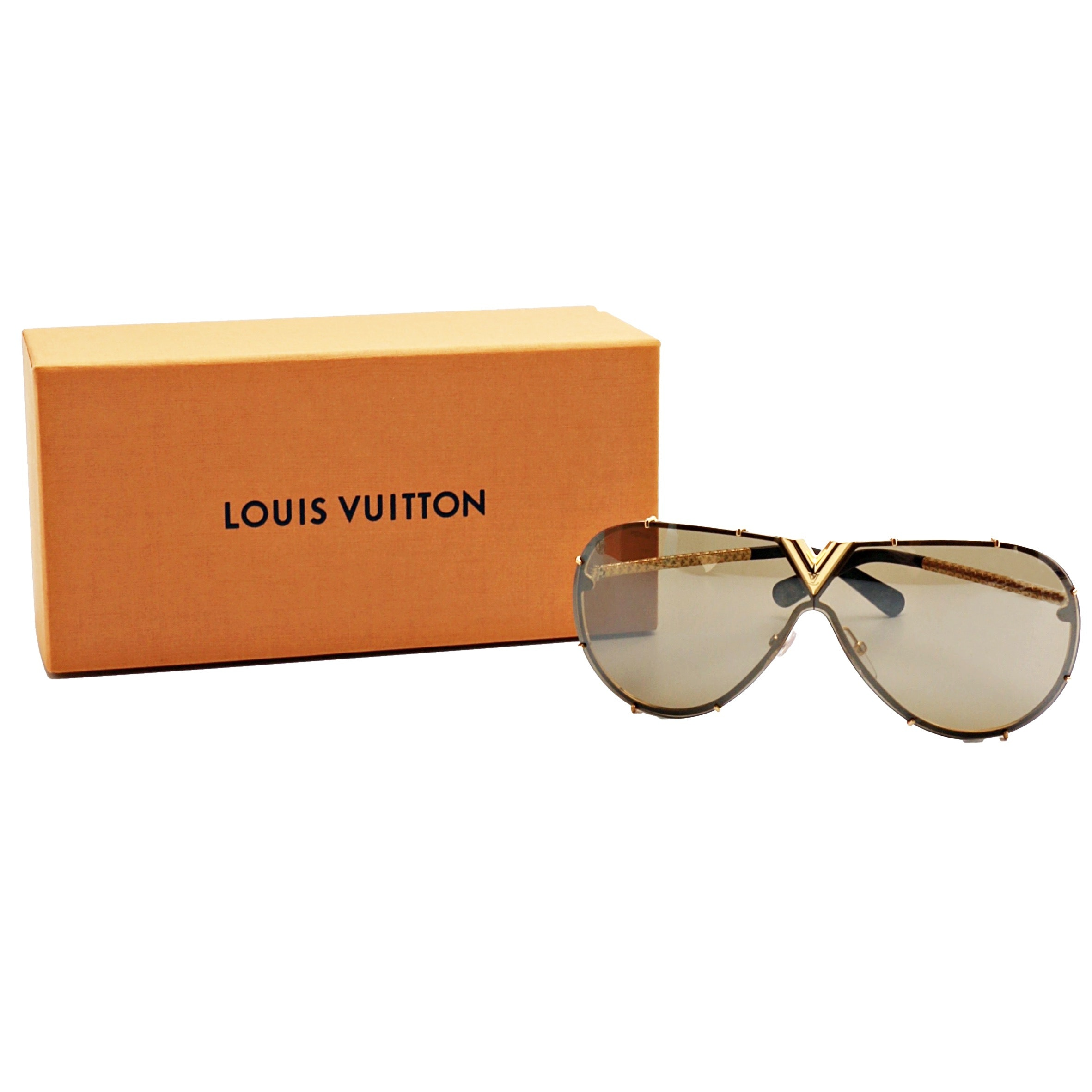 """Louis Vuitton """"Drive"""" Silver Sunglasses with Case, Box and Bag"""