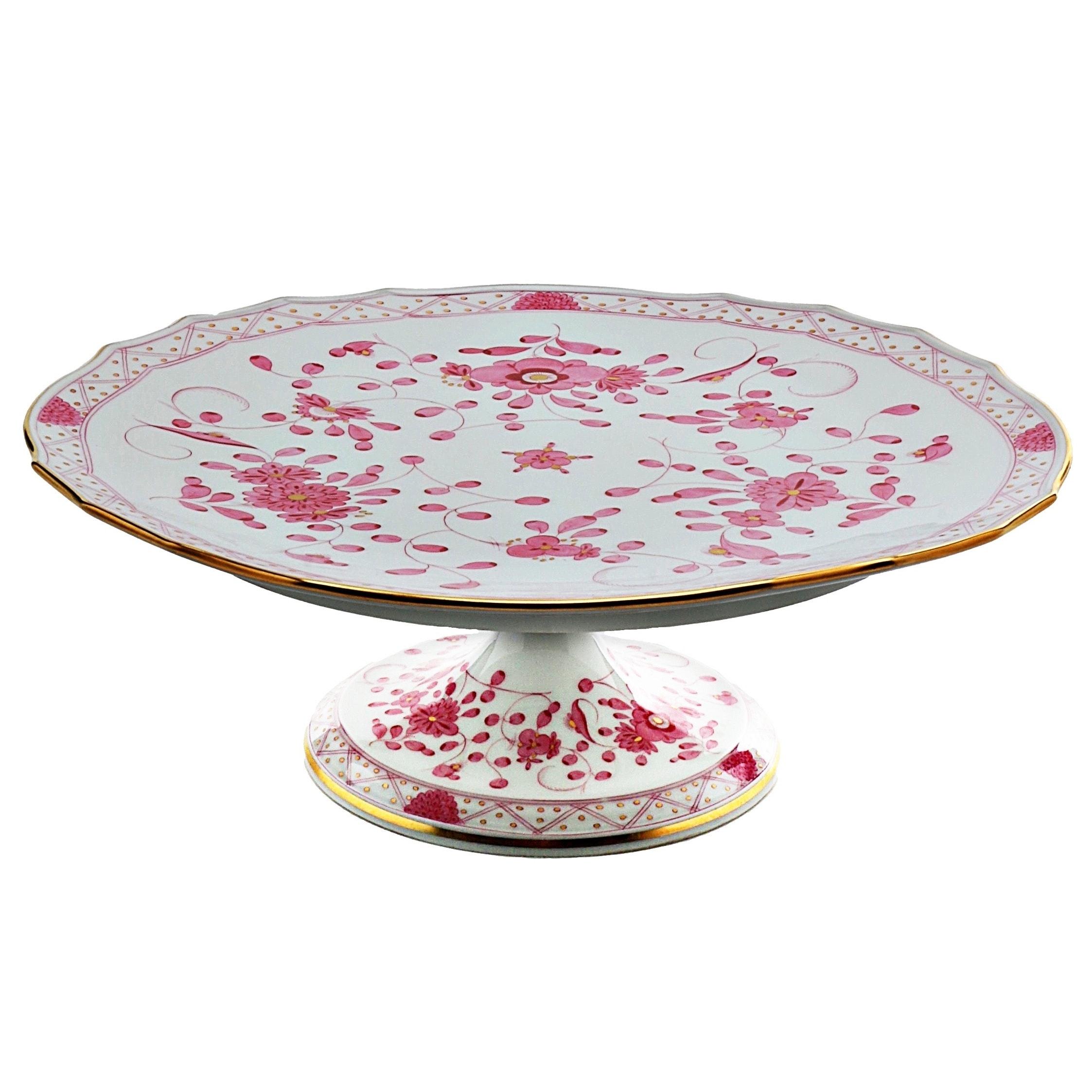 "Meissen Porcelain ""Indian Pink"" Cake Stand"