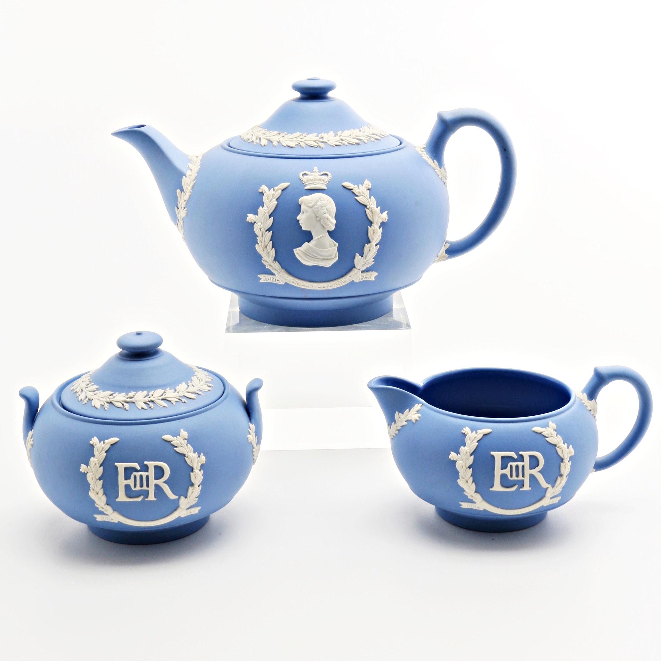 1953 Commemorative  Wedgwood Jasperware Tea Pot, Sugar Bowl and Creamer