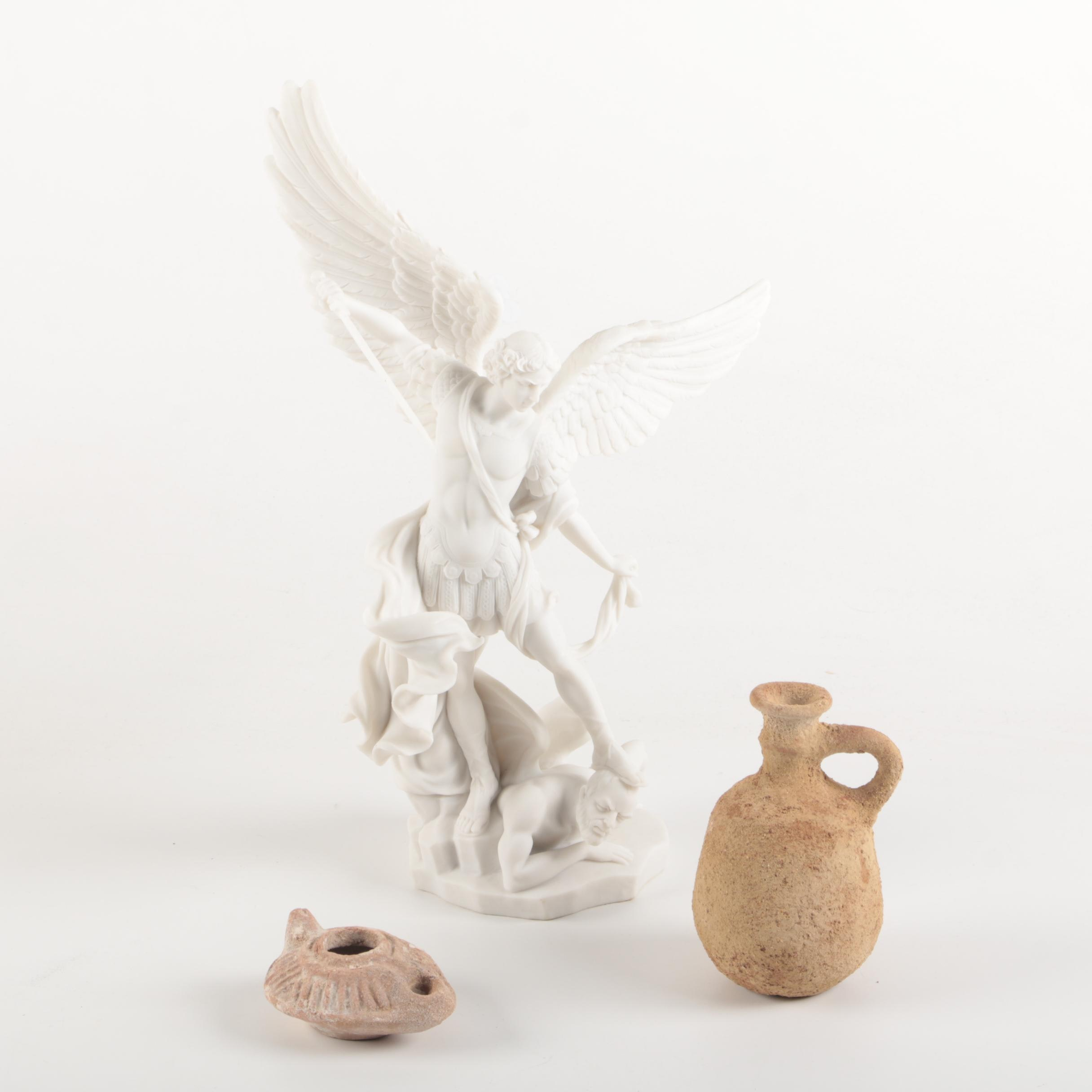 The Archangel Michael Figurine and Other Ceramic Decor