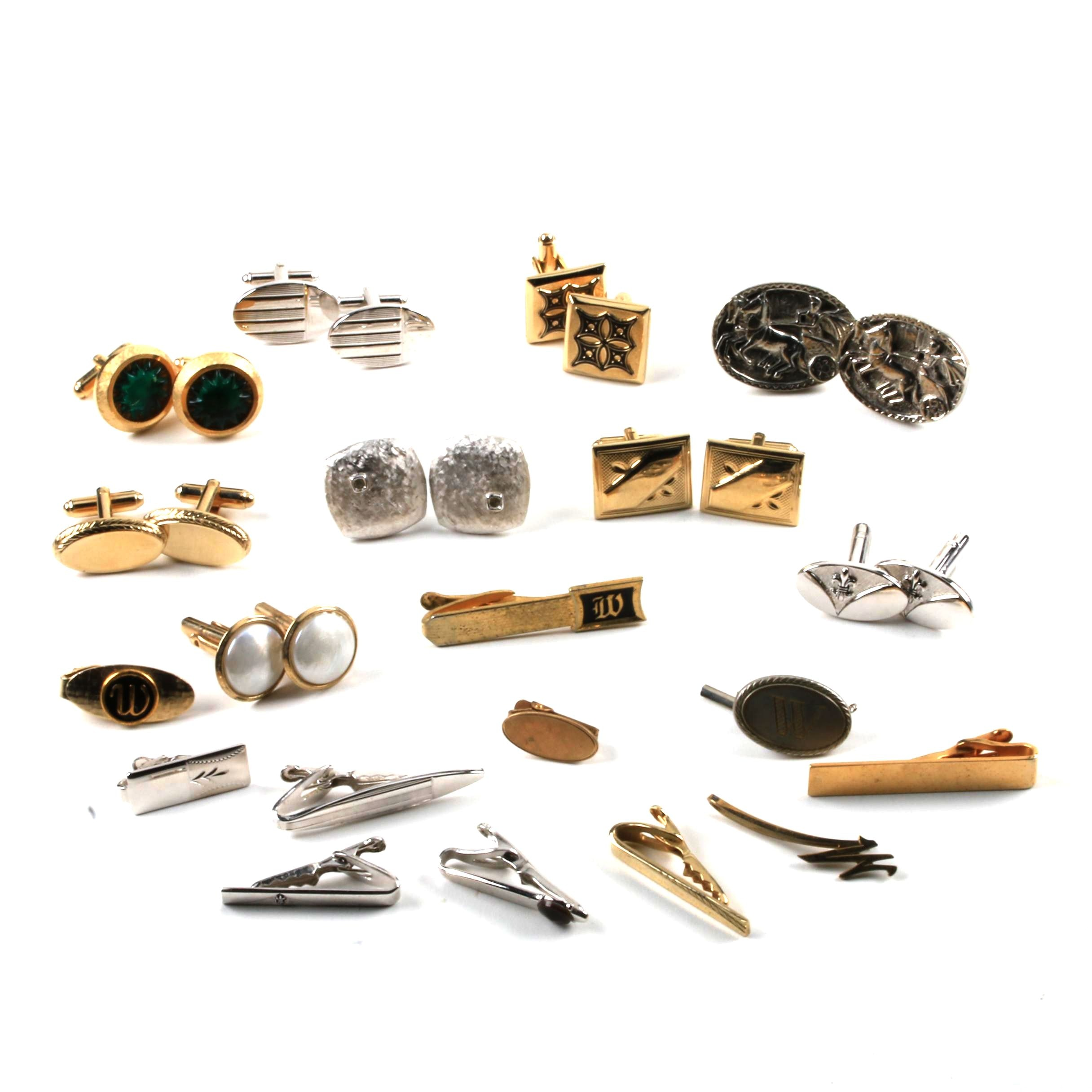 Assortment of Cufflinks and Tie Bars