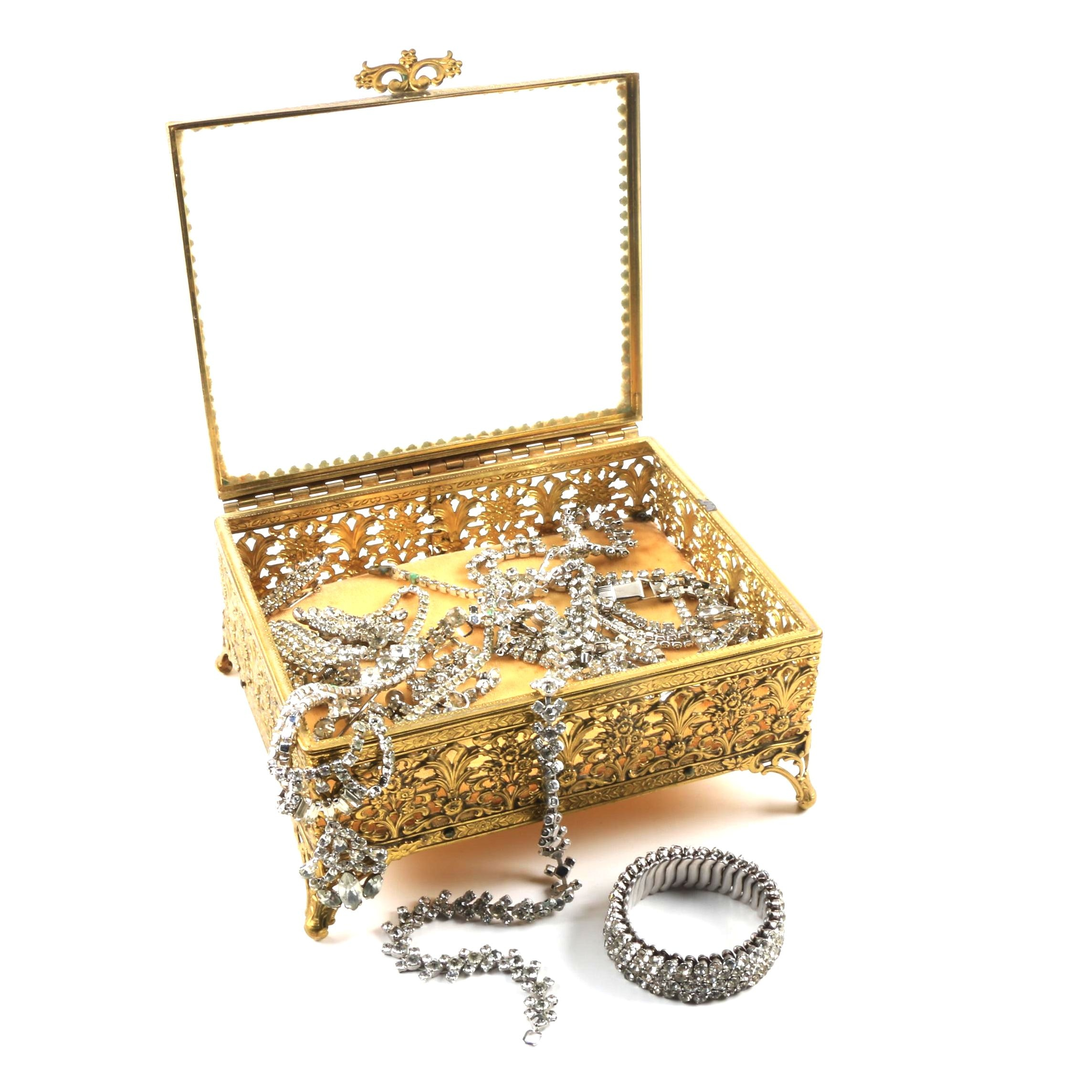 Vintage Rhinestone Jewelry in Glass Top Jewelry Box