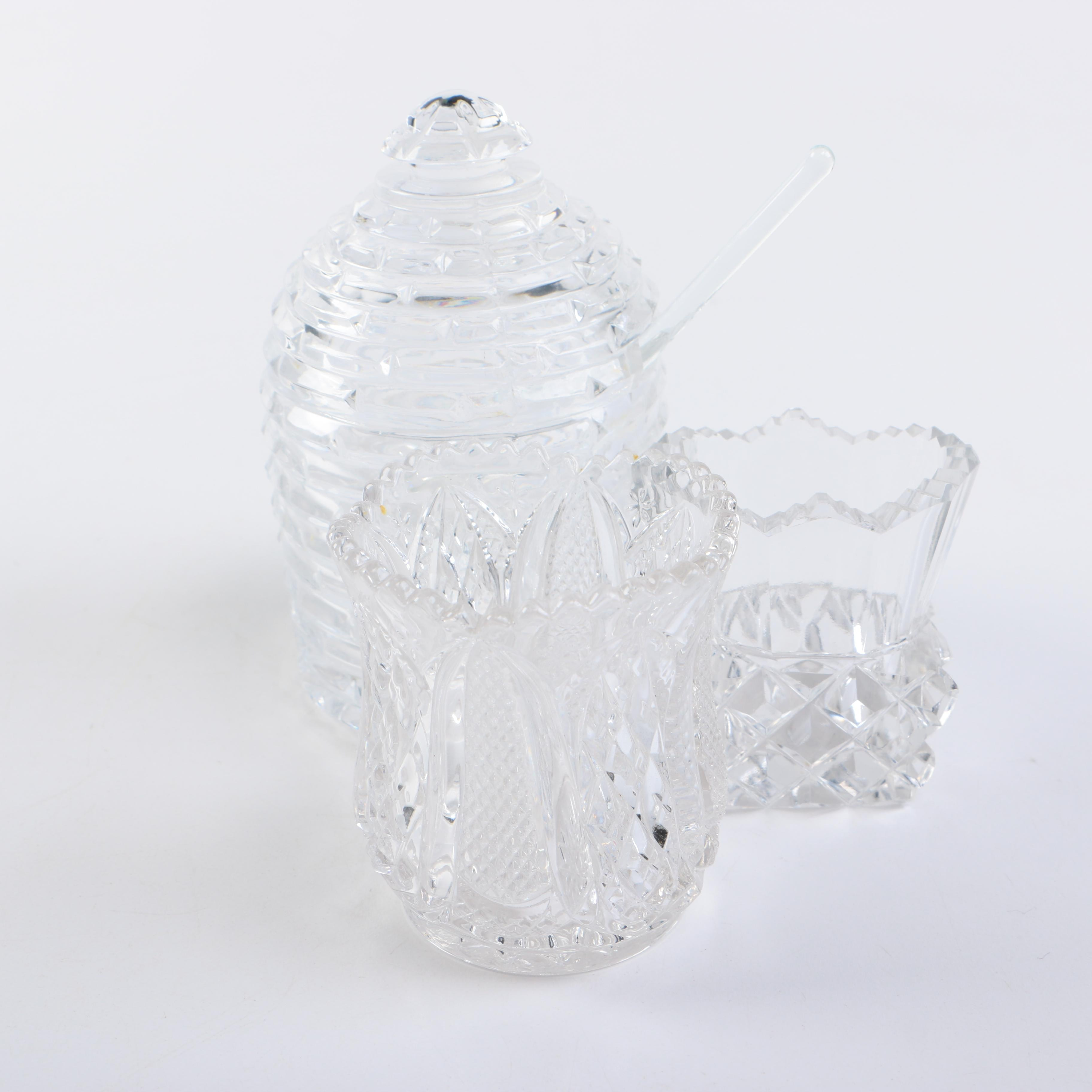 Crystal Sugar Bowl and Votive Holders in Crystal and Pressed Glass