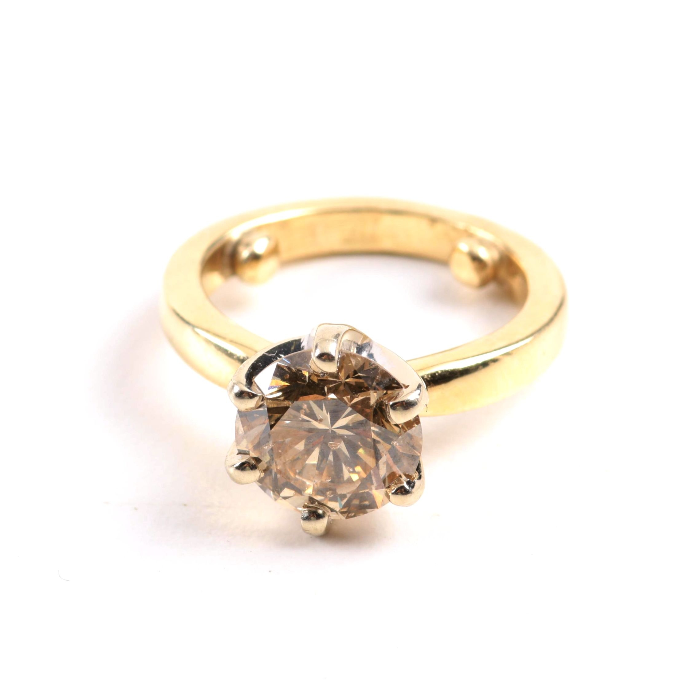 14K Yellow Gold 2.73 Carat Diamond Solitaire Ring