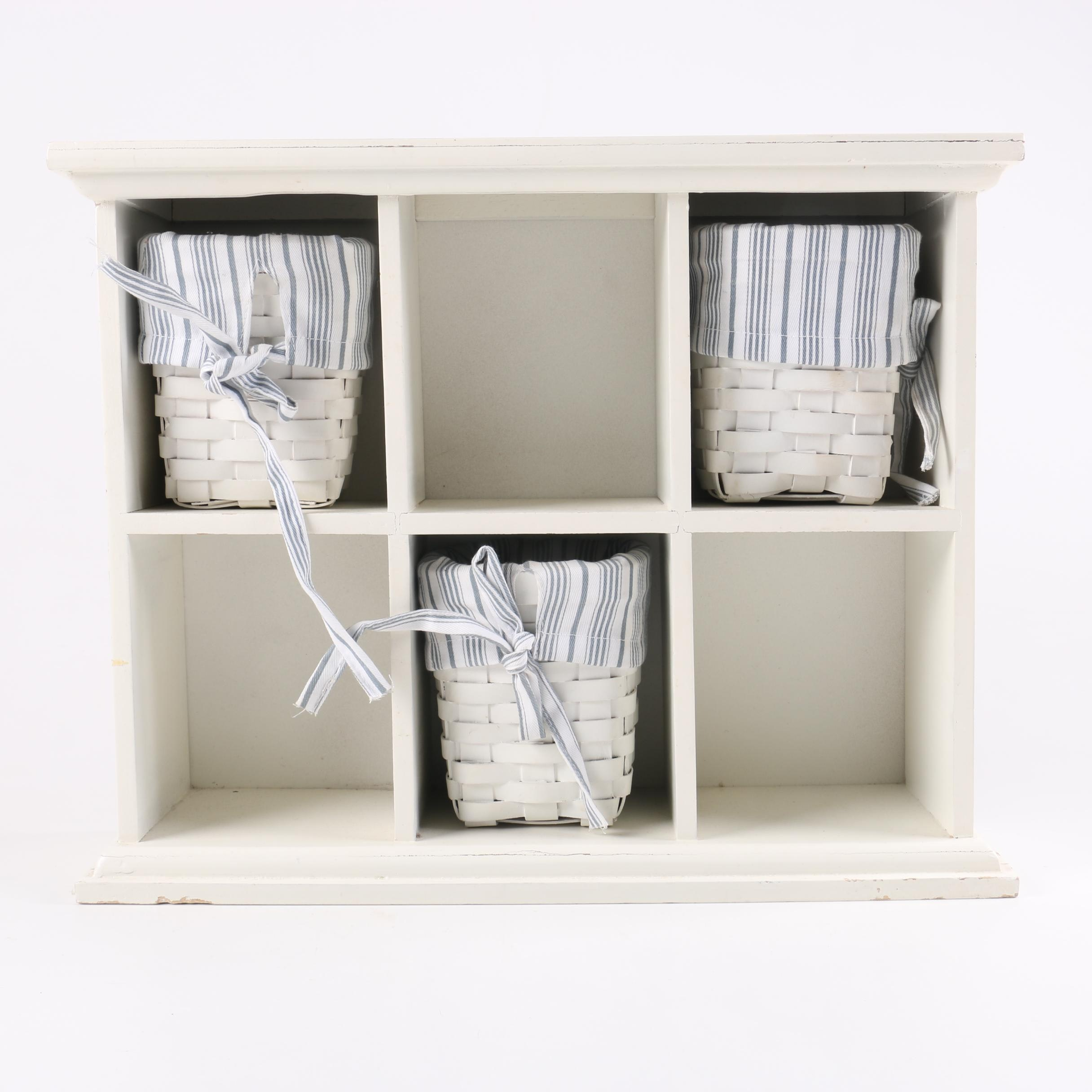 Painted Wooden Cabinet with Baskets in White
