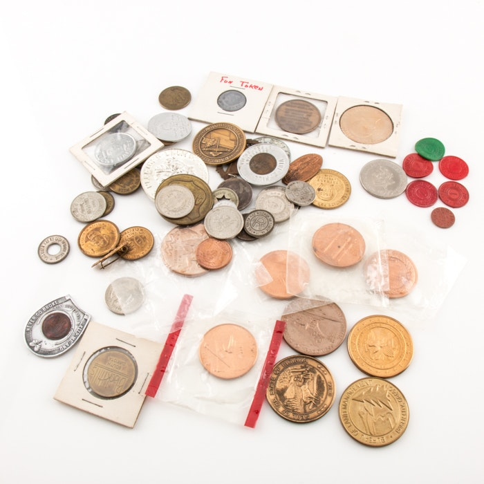 Large Selection of Vintage and Antique Tokens, Medals and Commemoratives