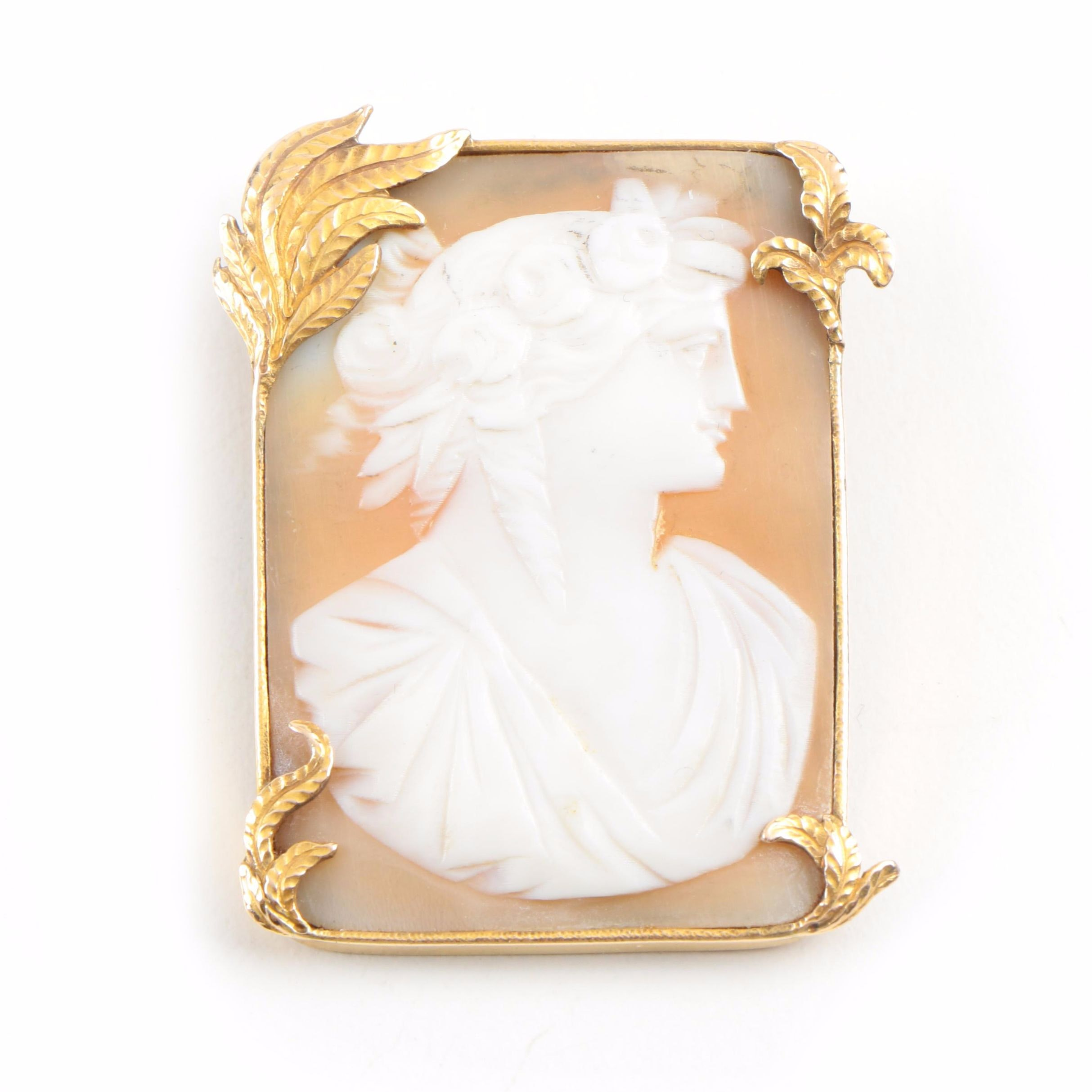 Yellow Gold Filled Hand Carved Helmet Shell Cameo Converter Brooch