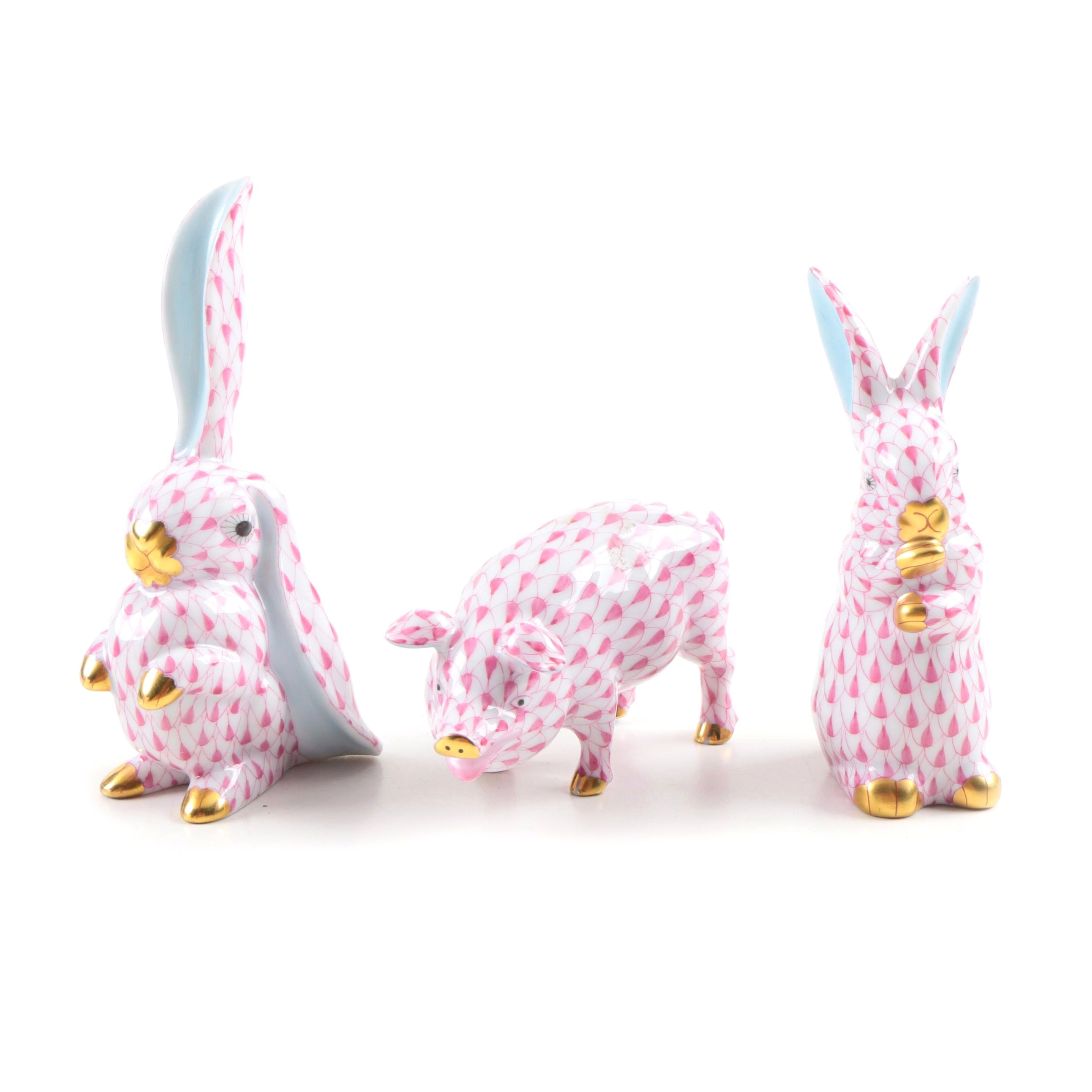 Herend Porcelain Pig and Rabbit Figurines in Fishnet Pink