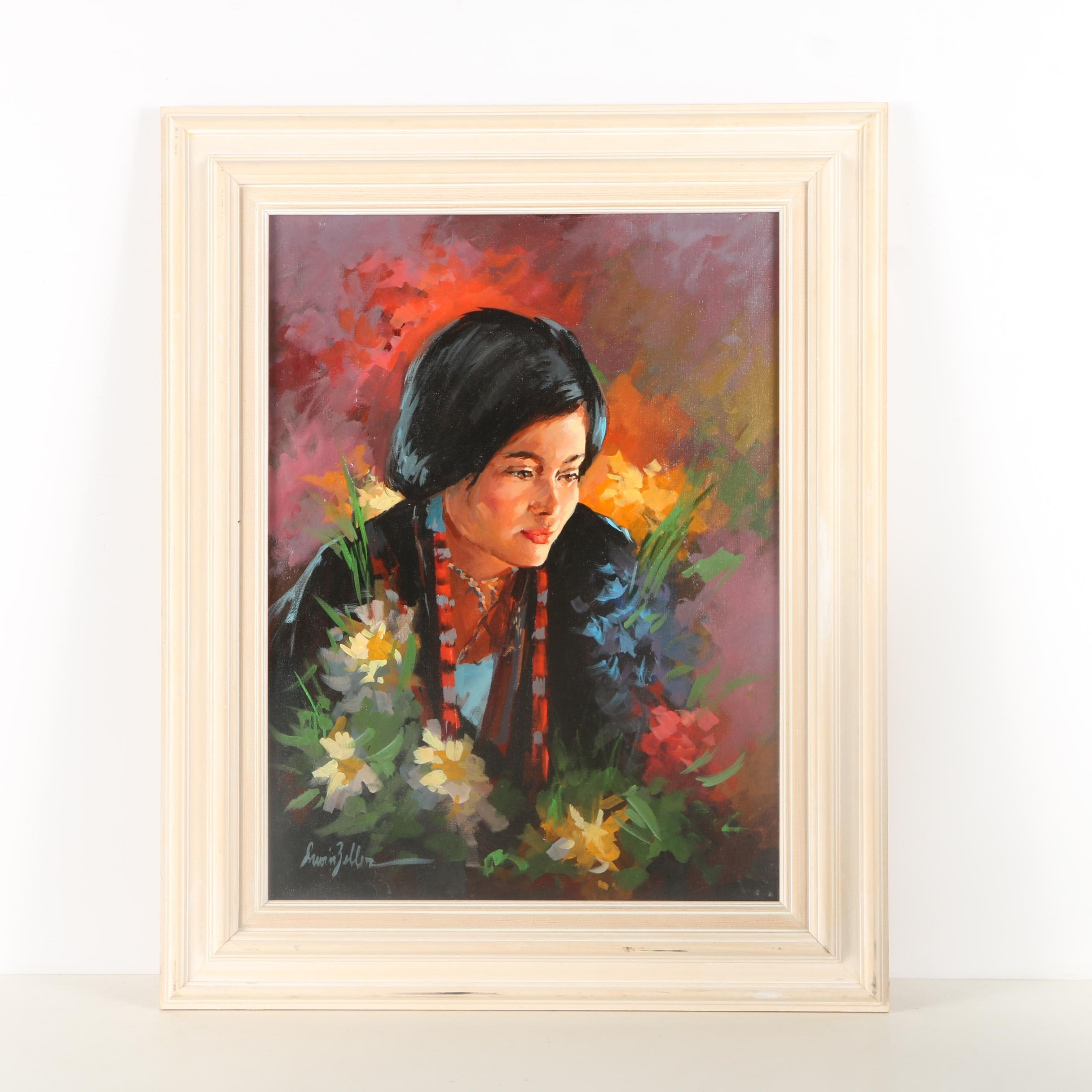 Irwin Zeller Oil Painting on Canvas of Woman