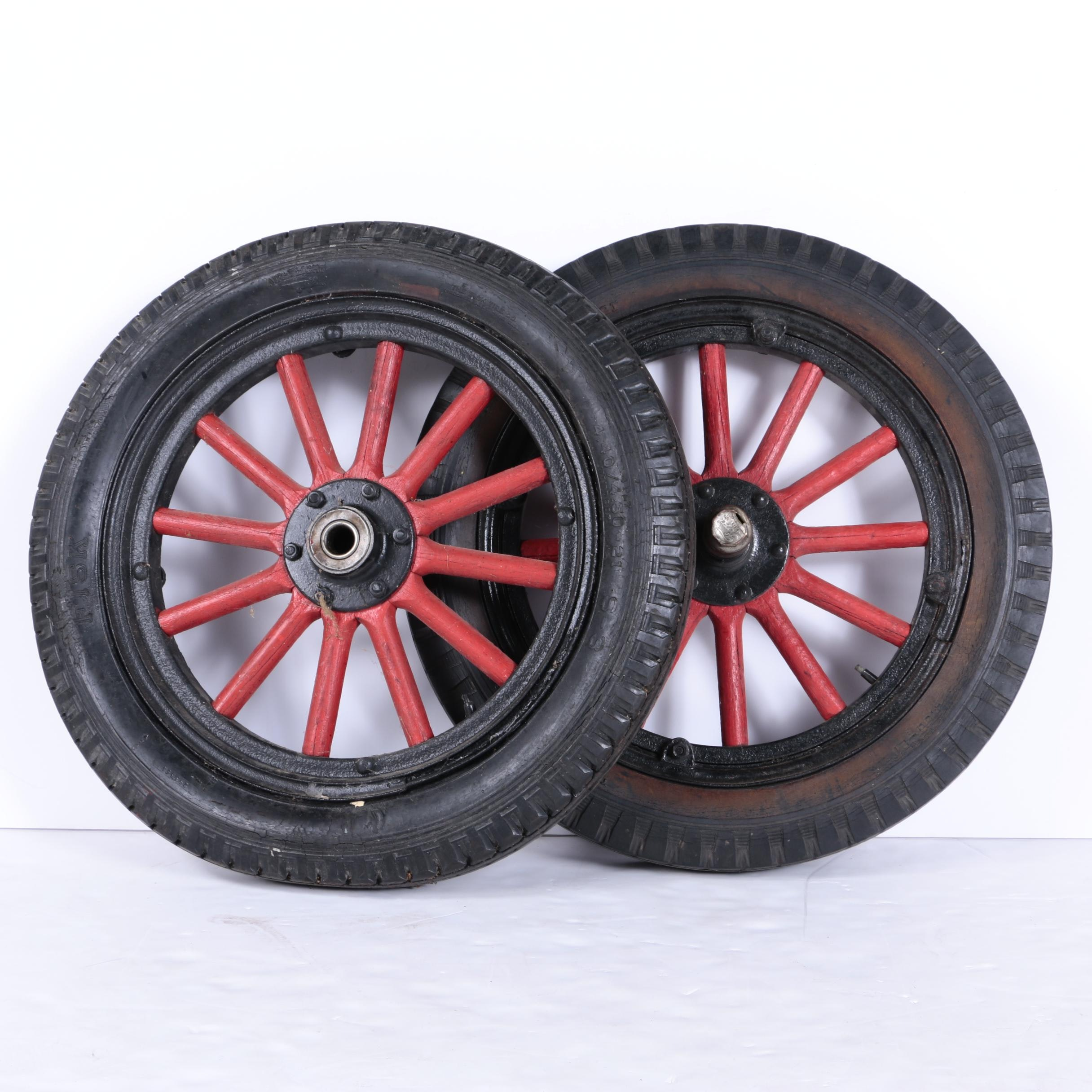 Pair of Vintage Wagon Tires and Wheels