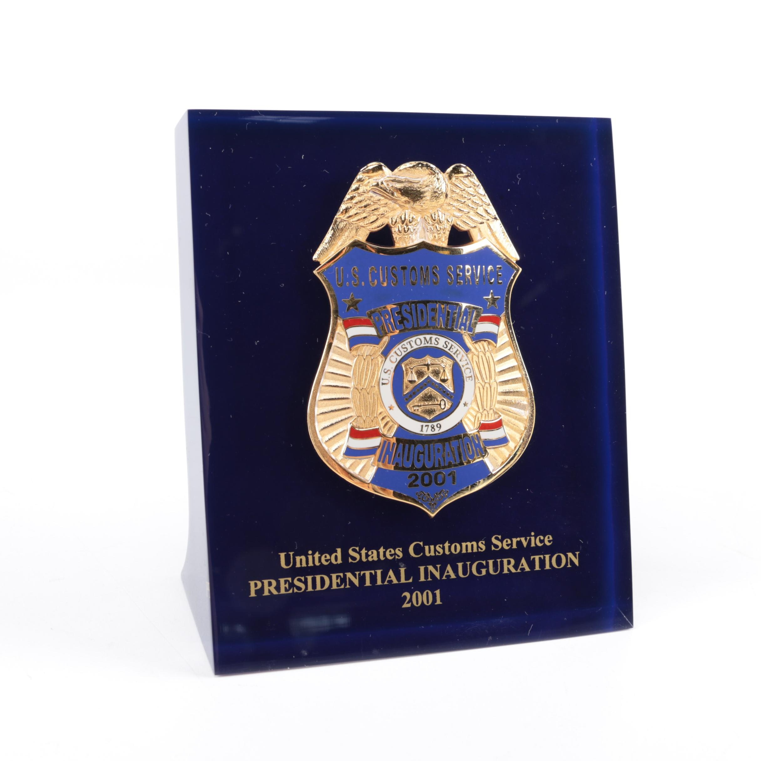 2001 United States Customs Service Presidential Inauguration Badge
