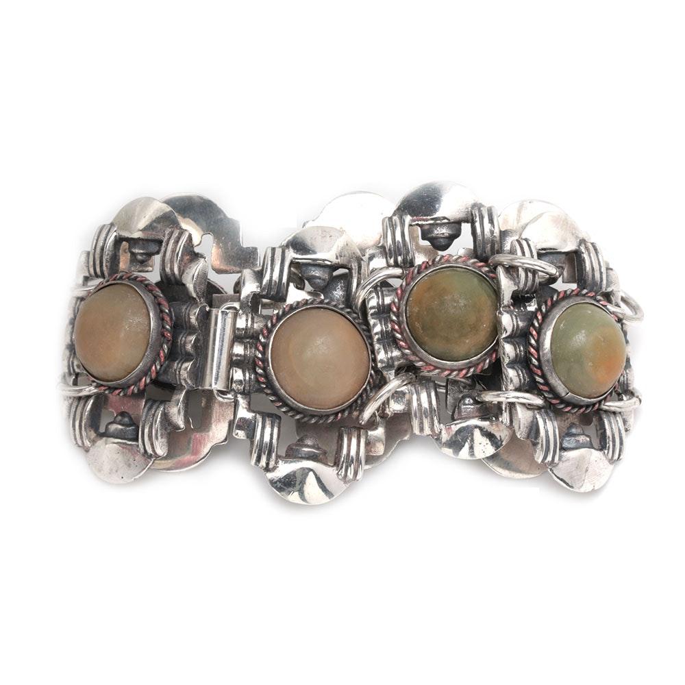 Vintage Casa Prieto Mexican Sterling Silver Calcite Panel Bracelet
