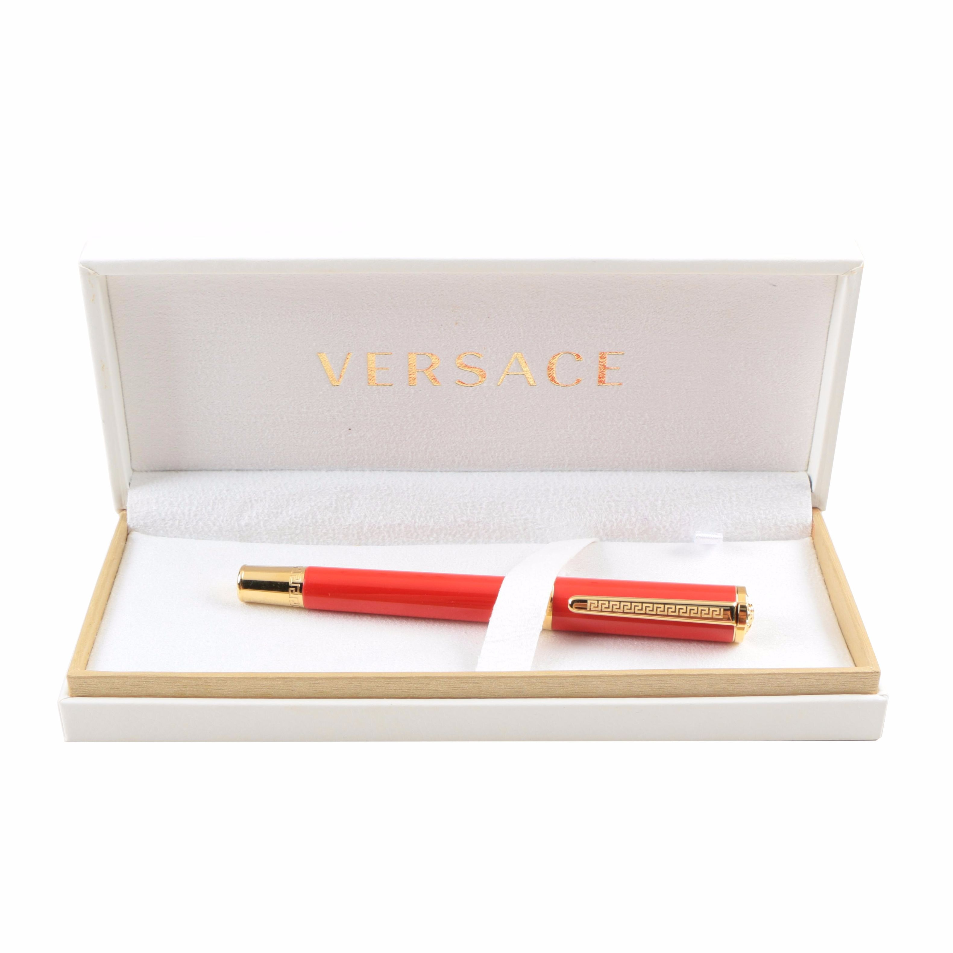 Versace Red Enamel Ball Point Pen with 14K Yellow Gold Plated Clip and Caps