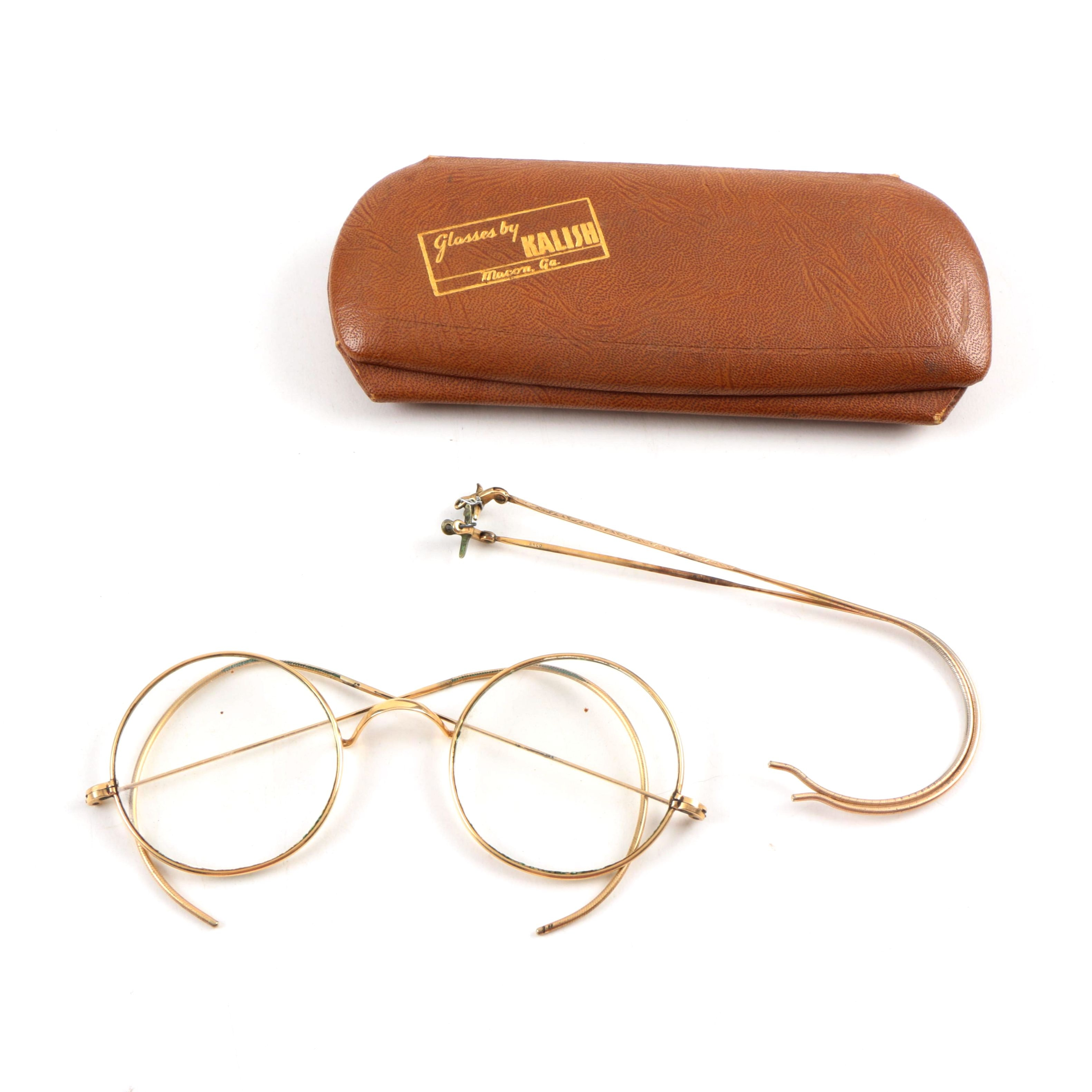 Vintage 1940's Arco Gold Plated Reading Glasses with Extra Side Frames