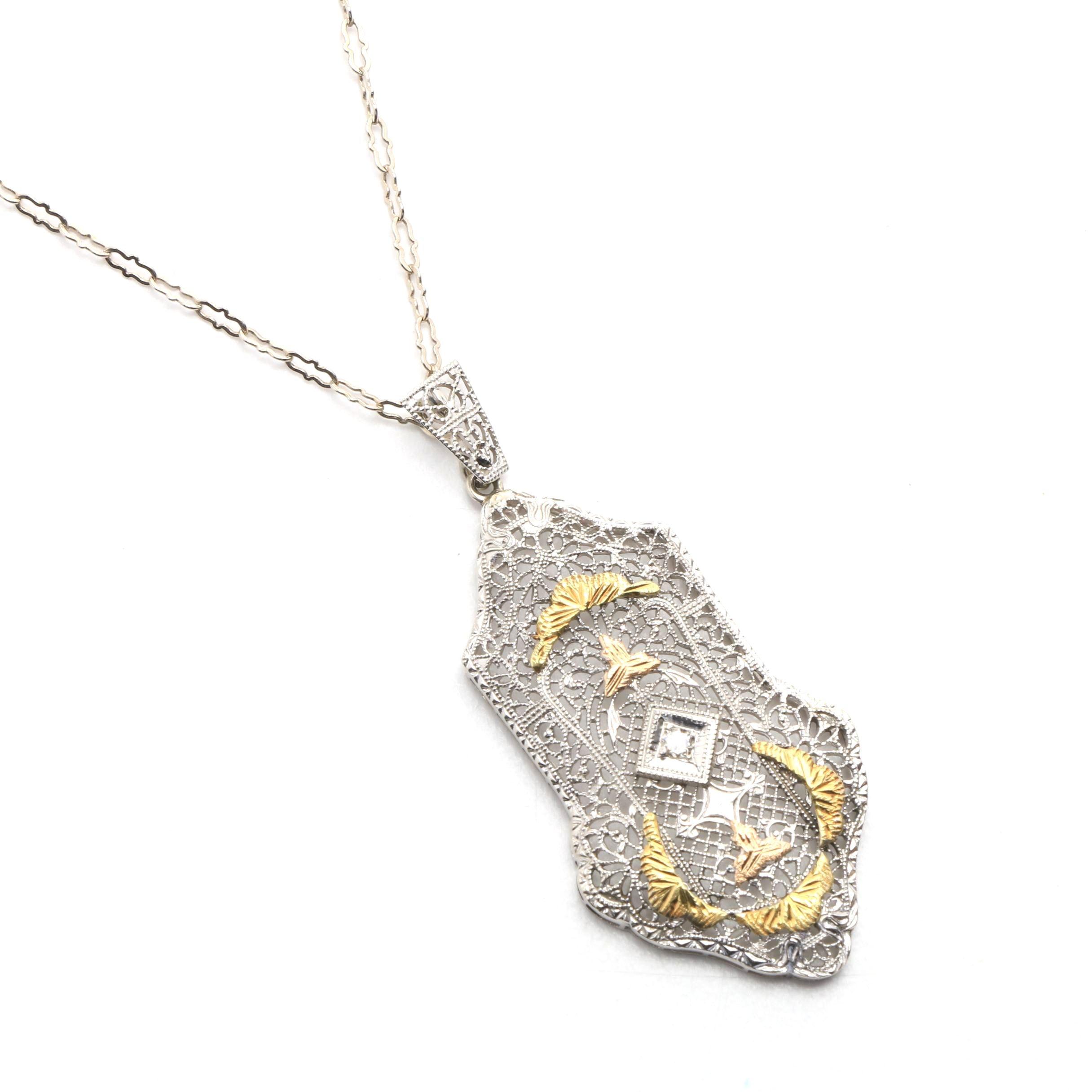Edwardian Revival 14K White Gold Filigree Pendant Necklace with Diamond