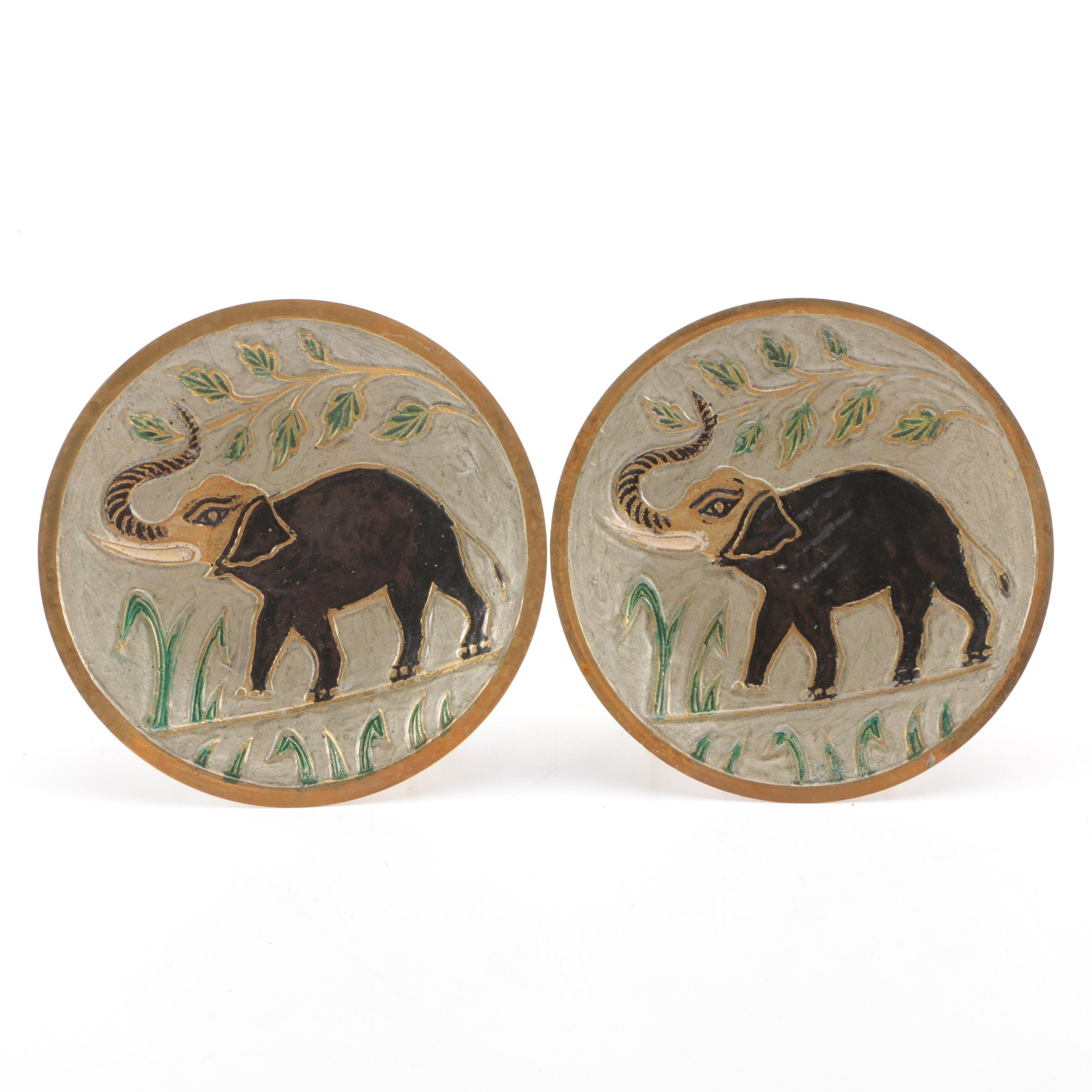 Pair of Painted Brass Plates Depicting Elephants