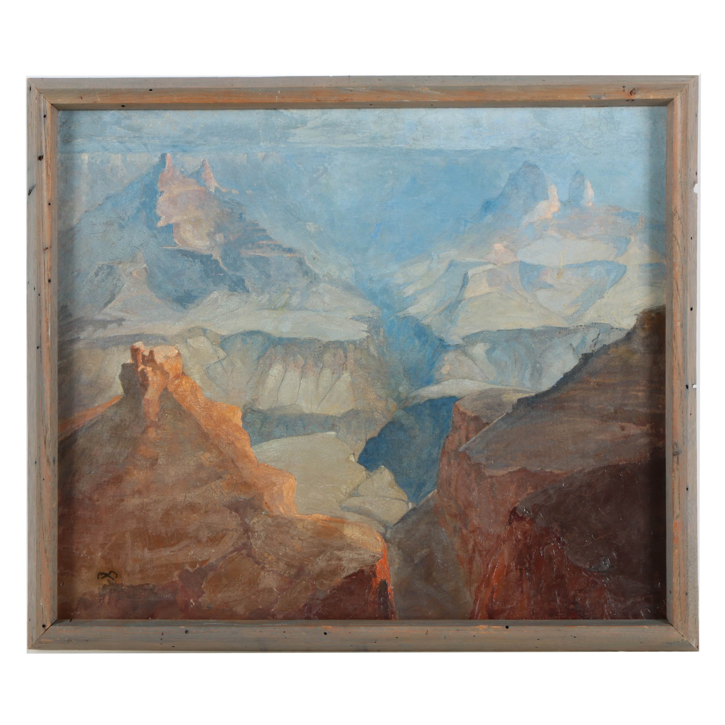 Attributed to Xavier Martinez Oil Painting on Canvas Grand Canyon