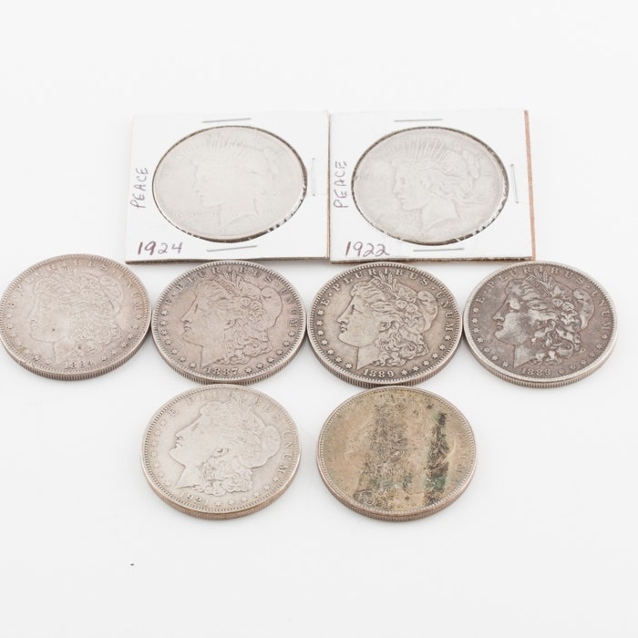 Group of Eight U.S. Silver Dollars