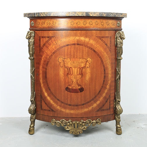 Louis XVI Style Marble Top Corner Cabinet by Maitland-Smith